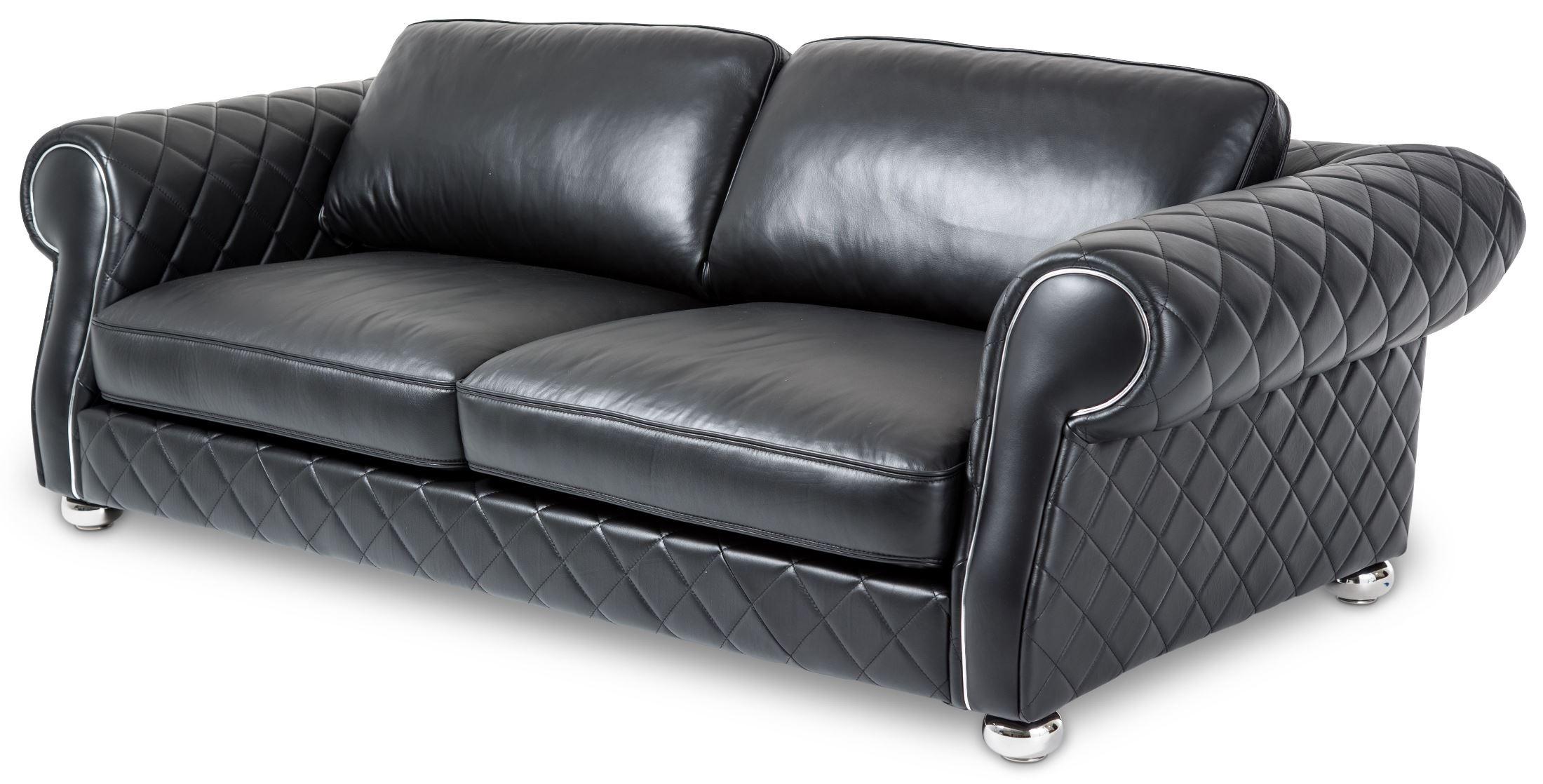 Mia Bella Smooth Black Leather Standard Sofa Mb Lugan15
