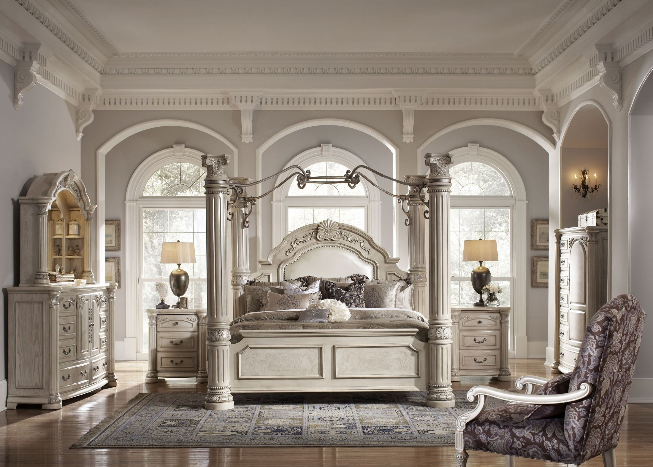 monte carlo ii silver pearl poster canopy bedroom set by aico