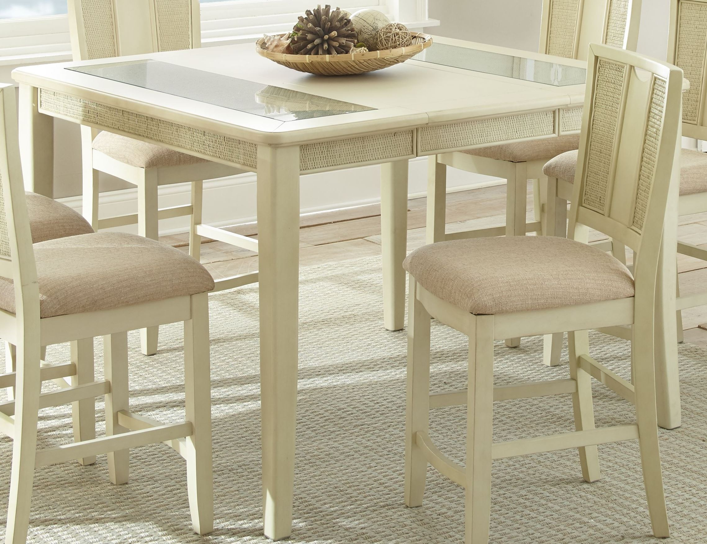 Melody white extendable rectangular counter height dining for Counter height extendable dining table