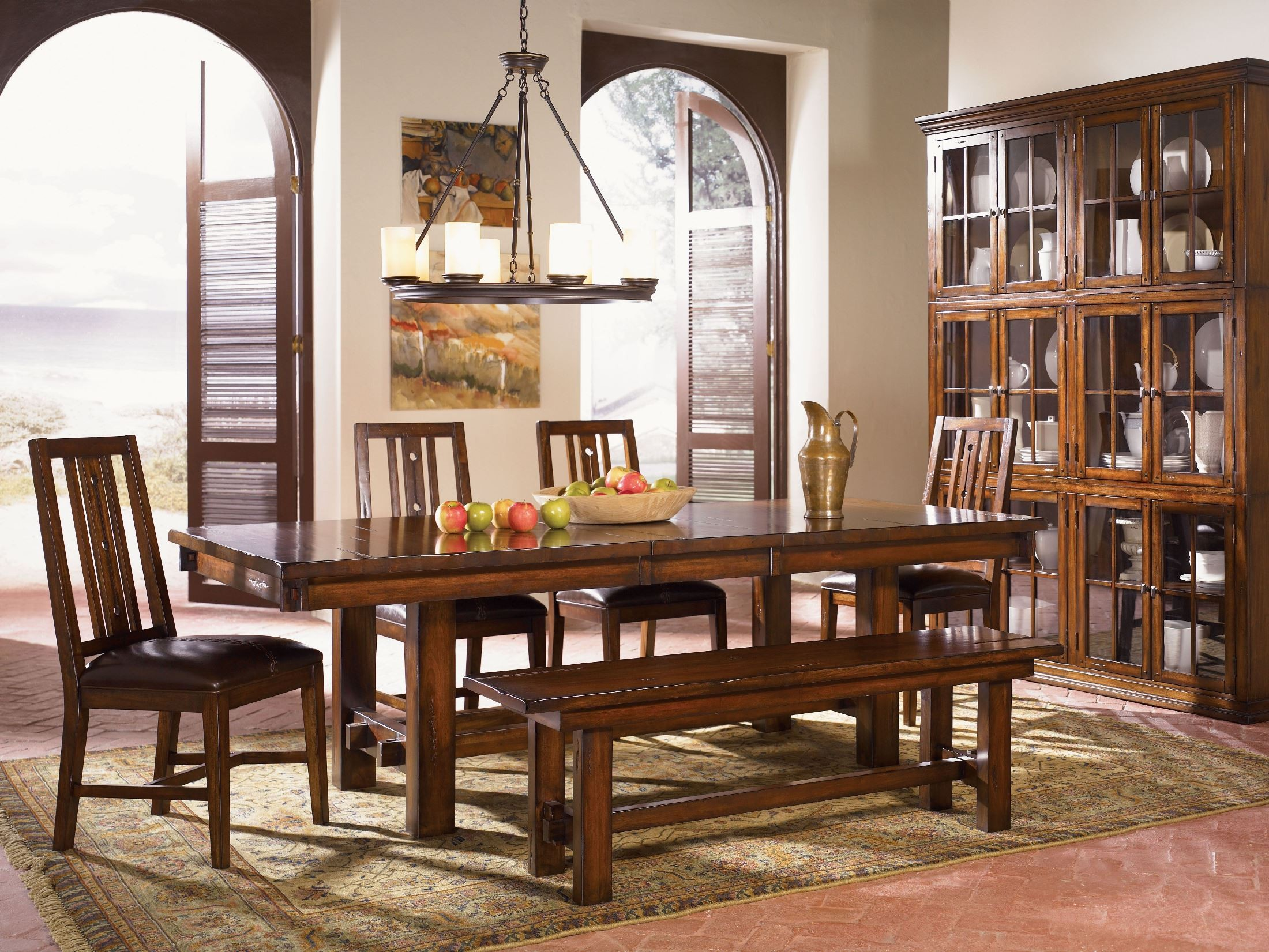 mesa rustica 92 aged mahogany extendable trestle dining room set