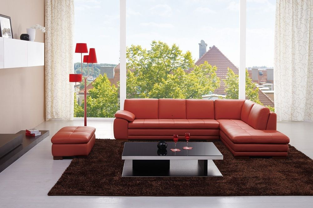 Miami pumpkin italian leather raf sectional 174697 rhfc j m for Cheap living room furniture miami