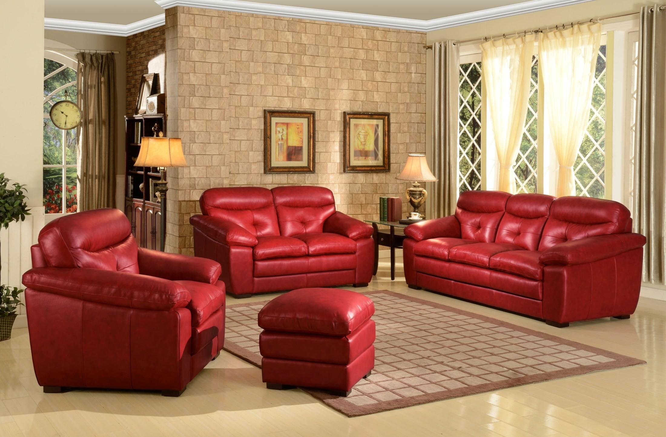Cambria Mirella Red Living Room Set Leather Italia