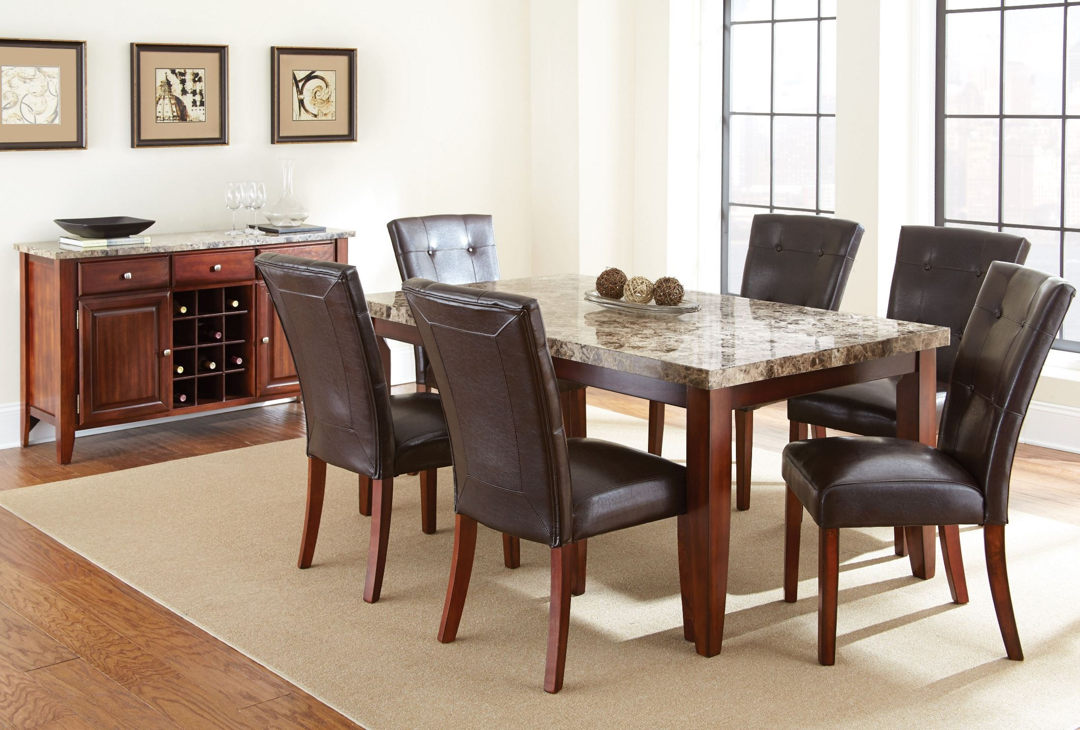 montibello spanish brown rectangular marble top dining room set from