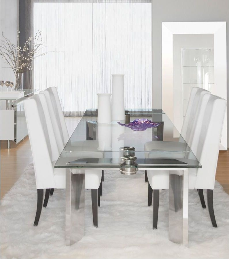 Ritz mo stainless steel rectangular extendable dining room set from star international - Extending dining room sets ...