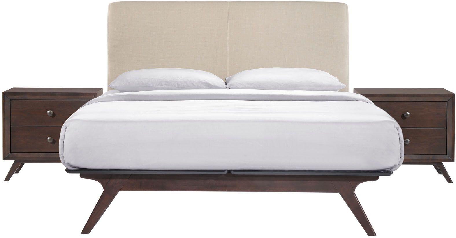 tracy cappuccino beige 3 piece queen platform bedroom set eei mod 5261 cap bei set renegade. Black Bedroom Furniture Sets. Home Design Ideas