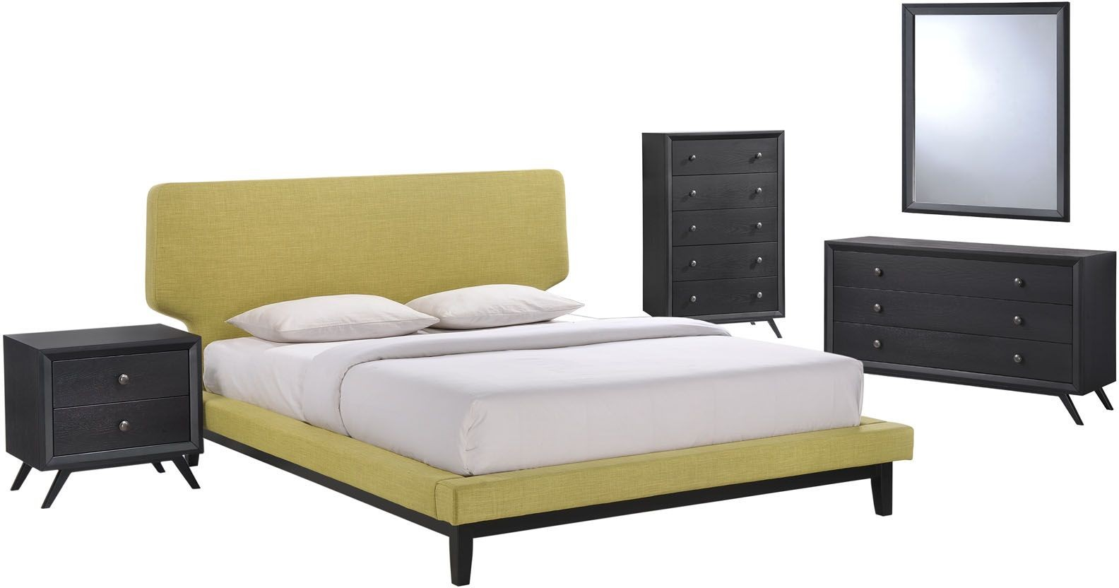 bethany black green 5 piece queen platform bedroom set eei mod 5335 blk grn set renegade furniture. Black Bedroom Furniture Sets. Home Design Ideas
