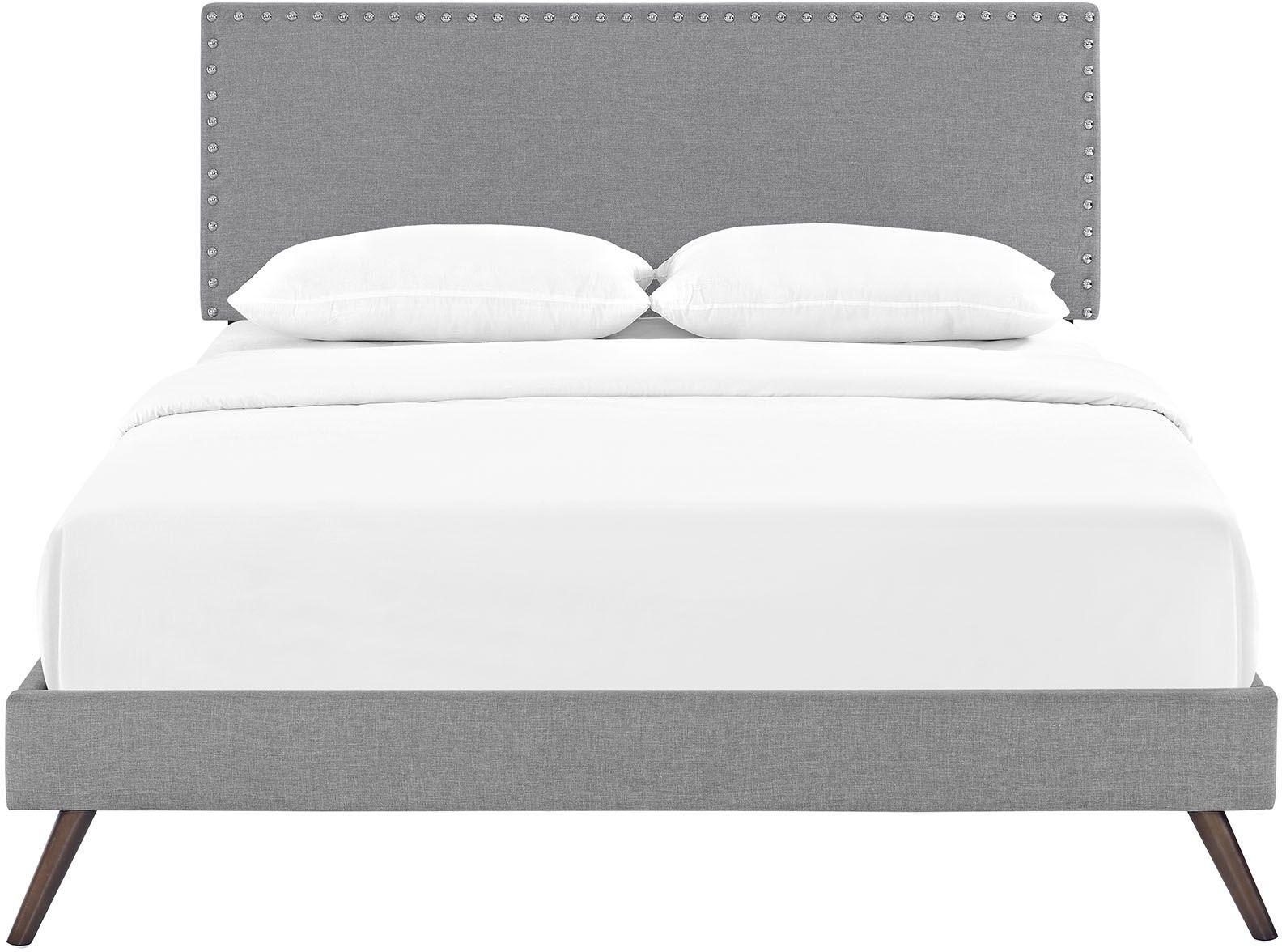 Phoebe Light Gray Full Upholstered Platform Bed With Round