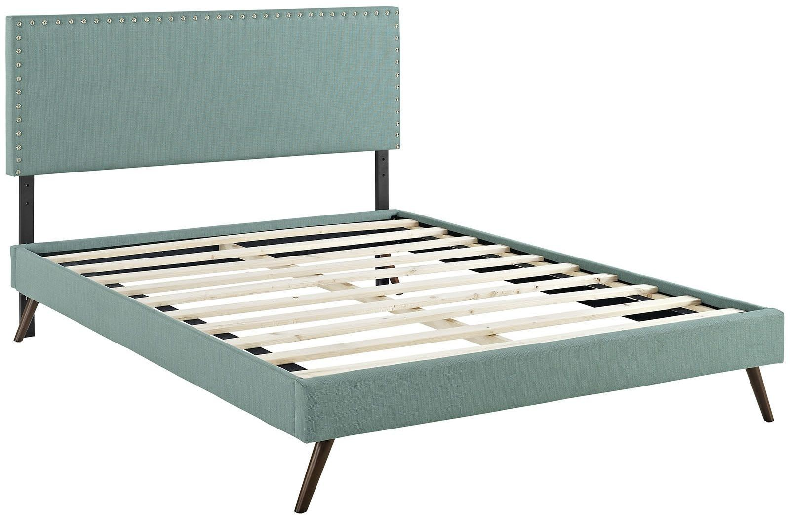 Phoebe Laguna King Upholstered Platform Bed with Round Splayed Legs ...