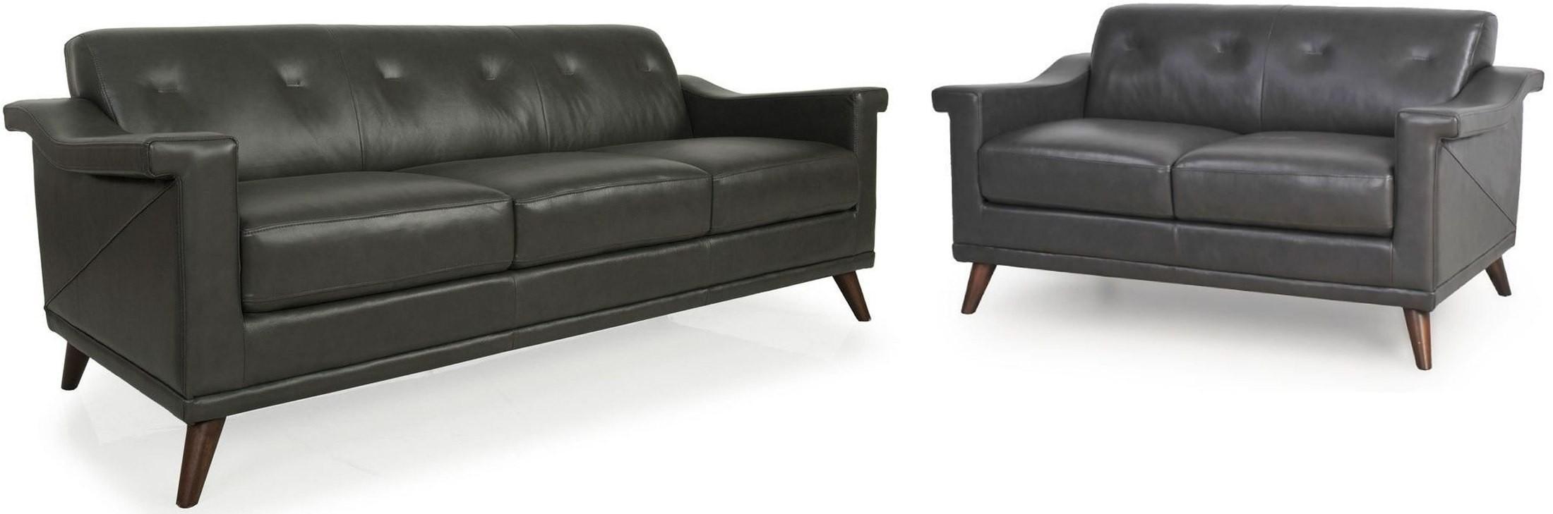 Kak Charcoal Grey Top Grain Leather Living Room Set 35603an S13301 Moroni