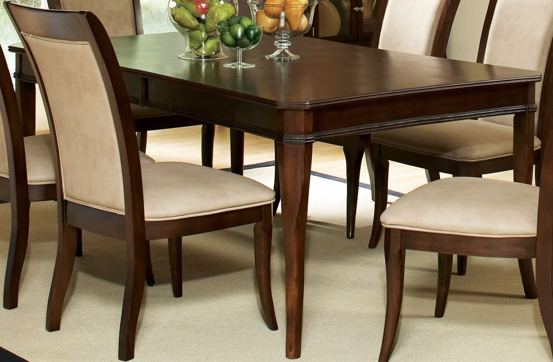 Marseille merlot cherry extendable rectangular dining for Cherry dining table