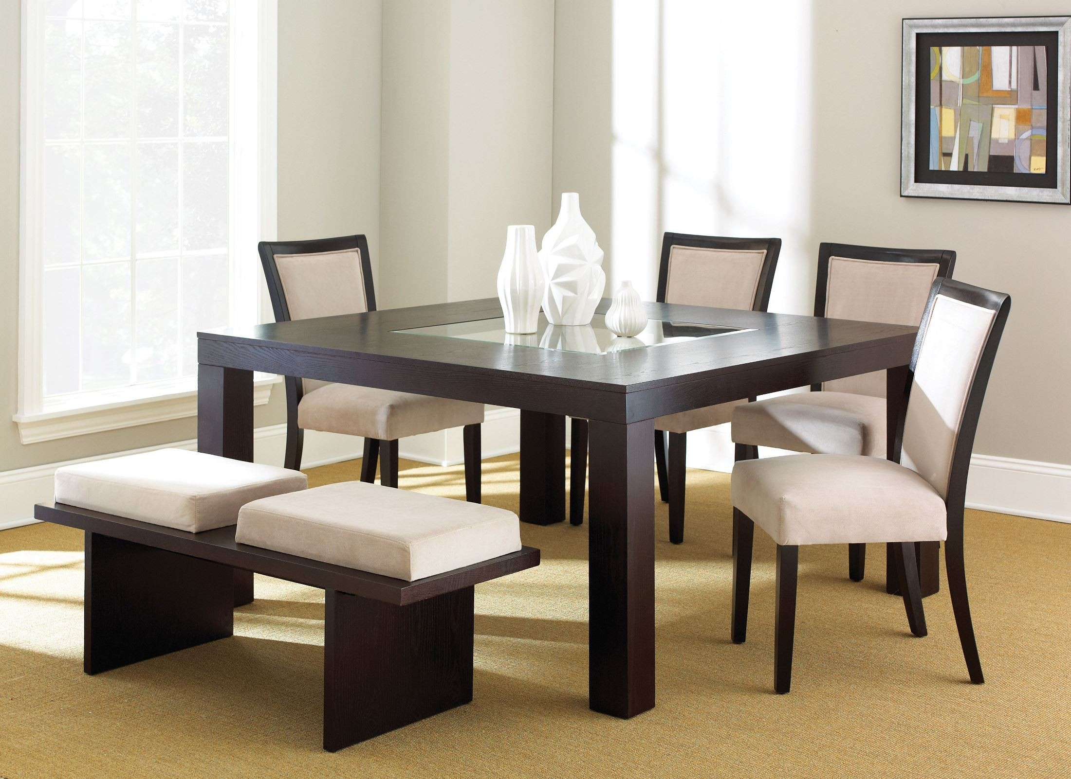 movado espresso cherry dining room set from steve silver mv200t