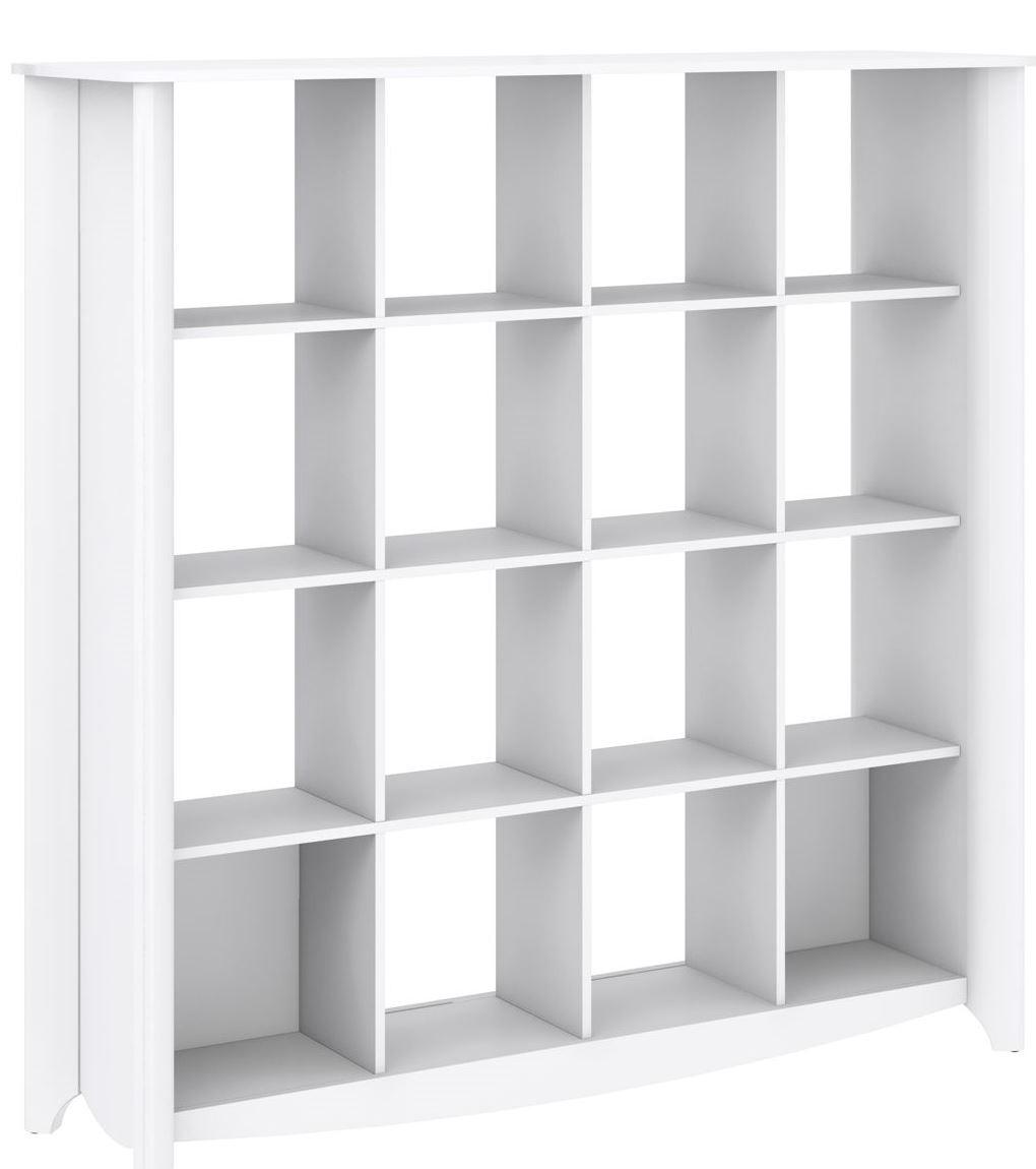 Aero Pure White Desk With Tall Storage Amp 16 Cube Bookcase