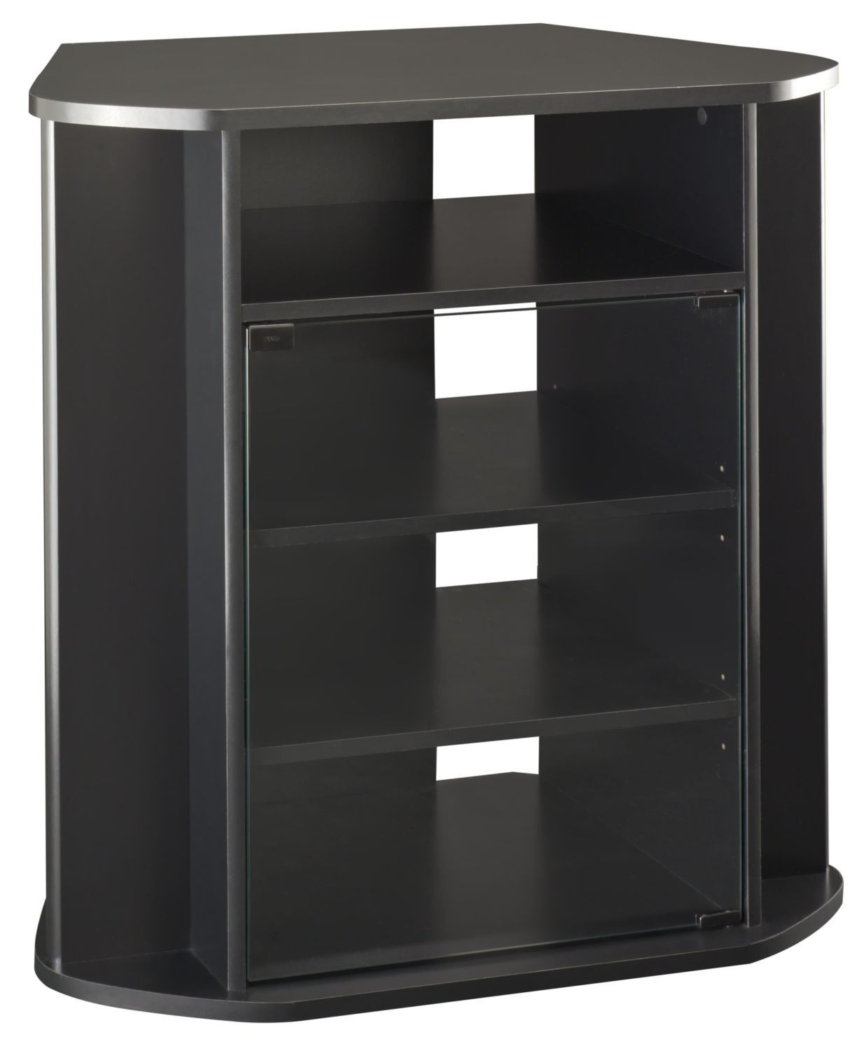 visions black tall corner tv stand from bush my37927 03