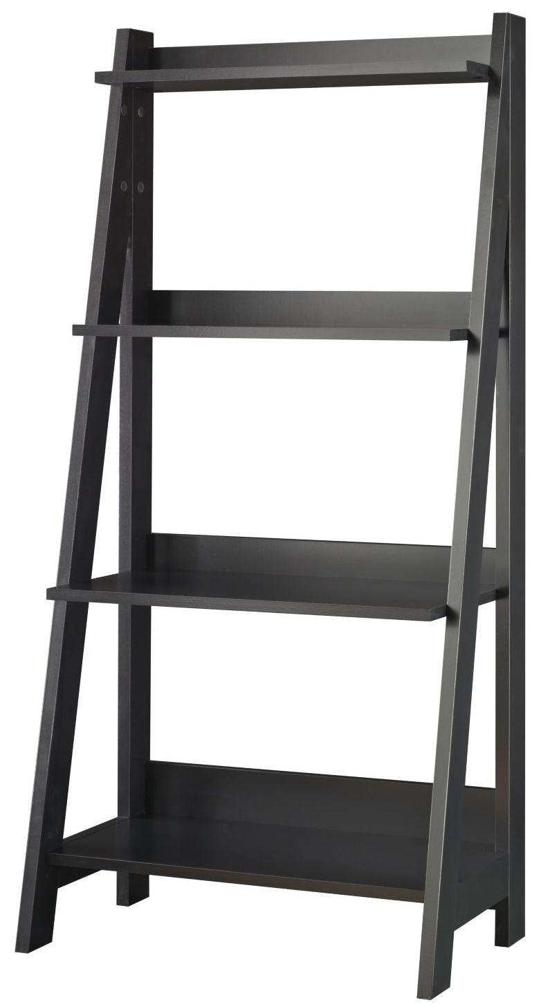 Black Ladder Bookshelf ~ Alamosa classic black ladder bookcase from bush my