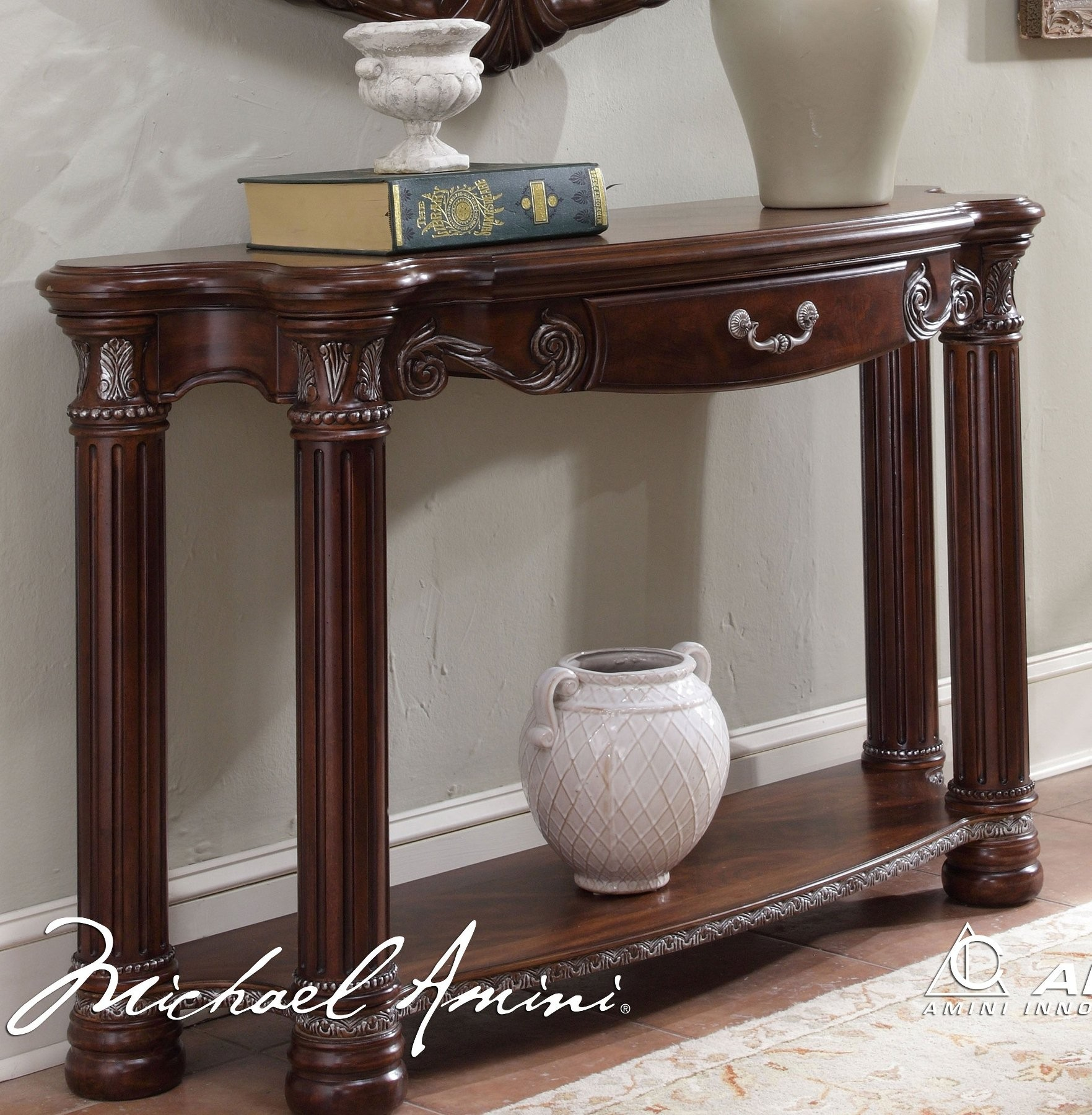 Monte carlo ii cafe noir console table by aico furniture - Table console noire ...