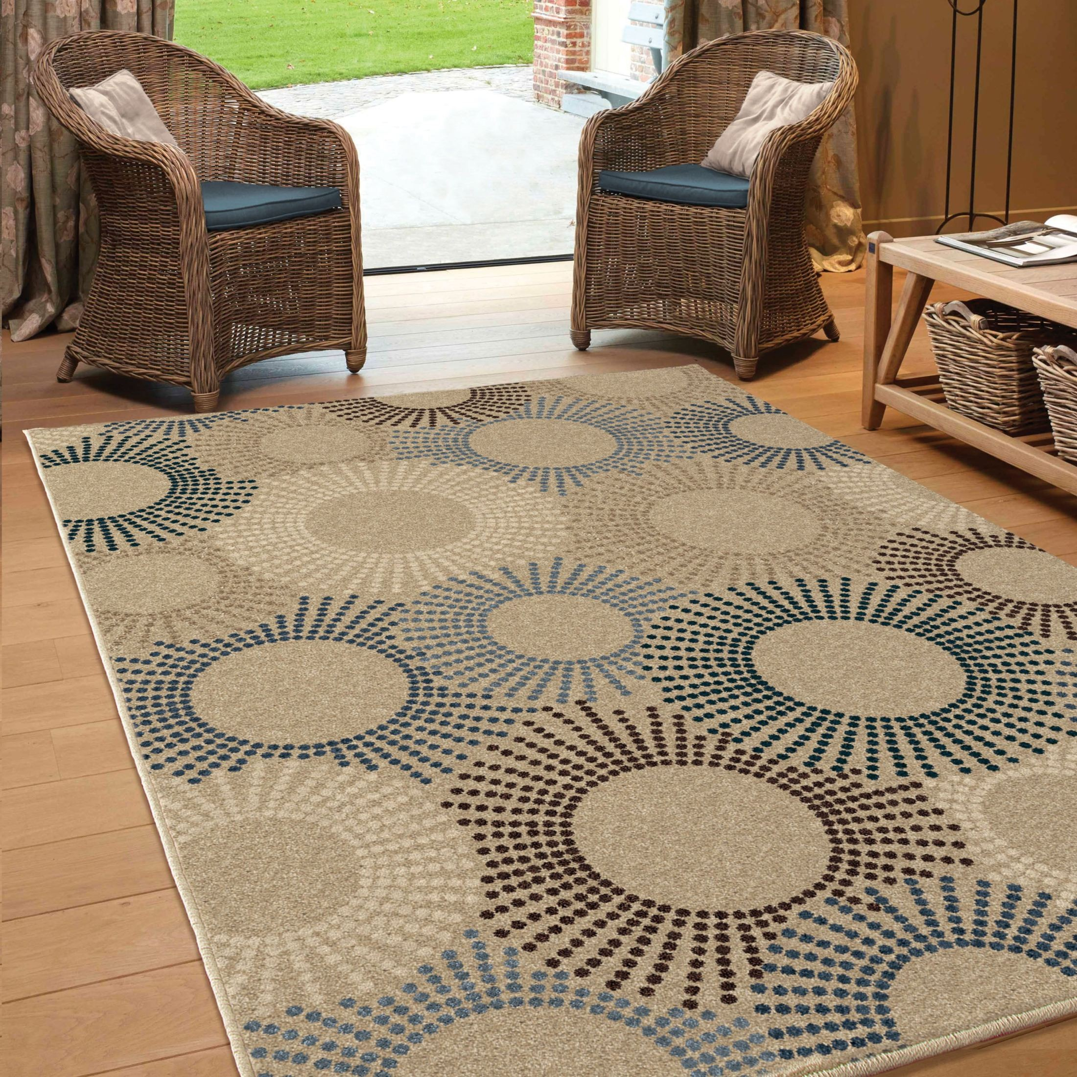 Orian Rugs Indoor Outdoor Circles Ray of Light Beige Area