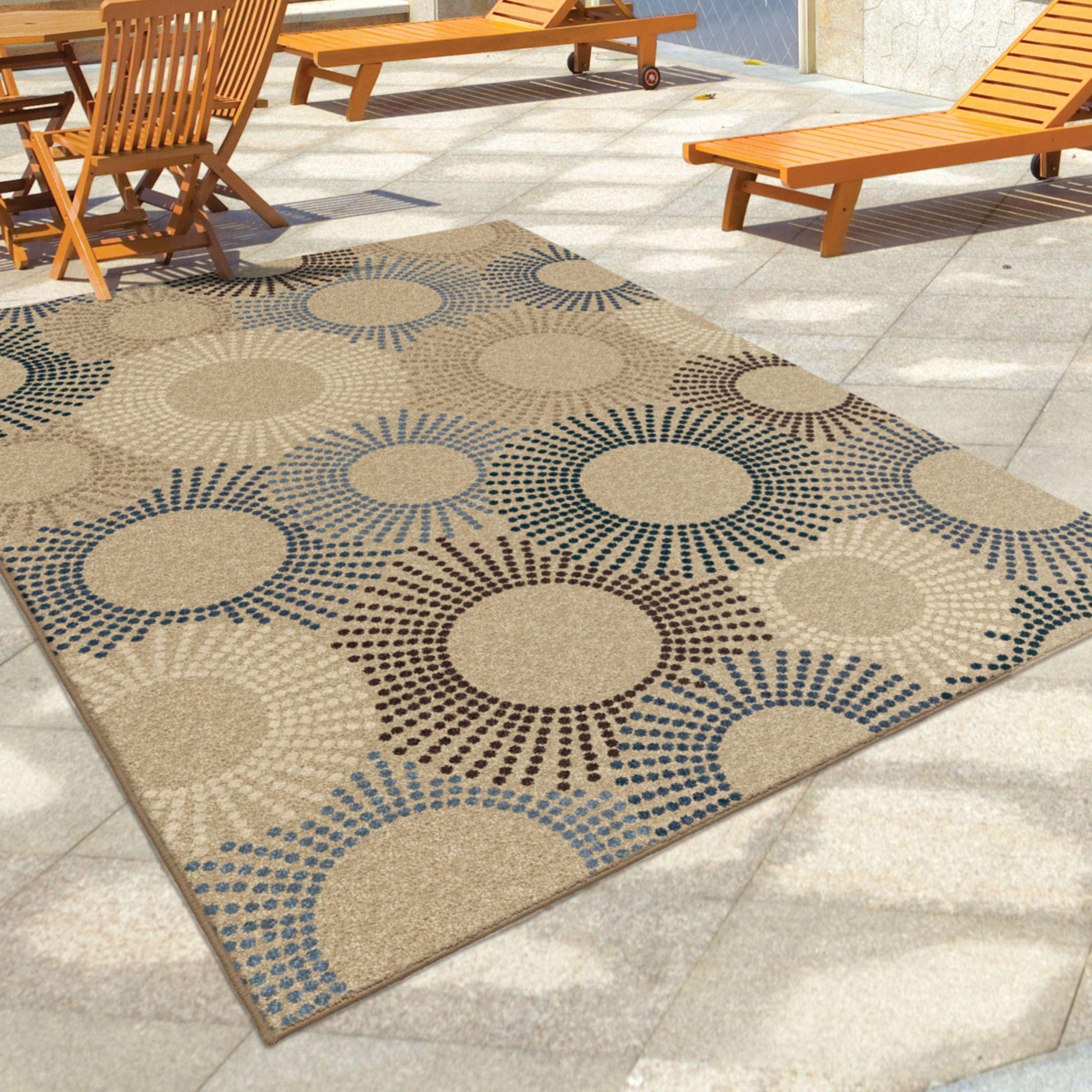 Outdoor 5x8 Area Rug: Orian Rugs Indoor/Outdoor Circles Ray Of Light Beige Area