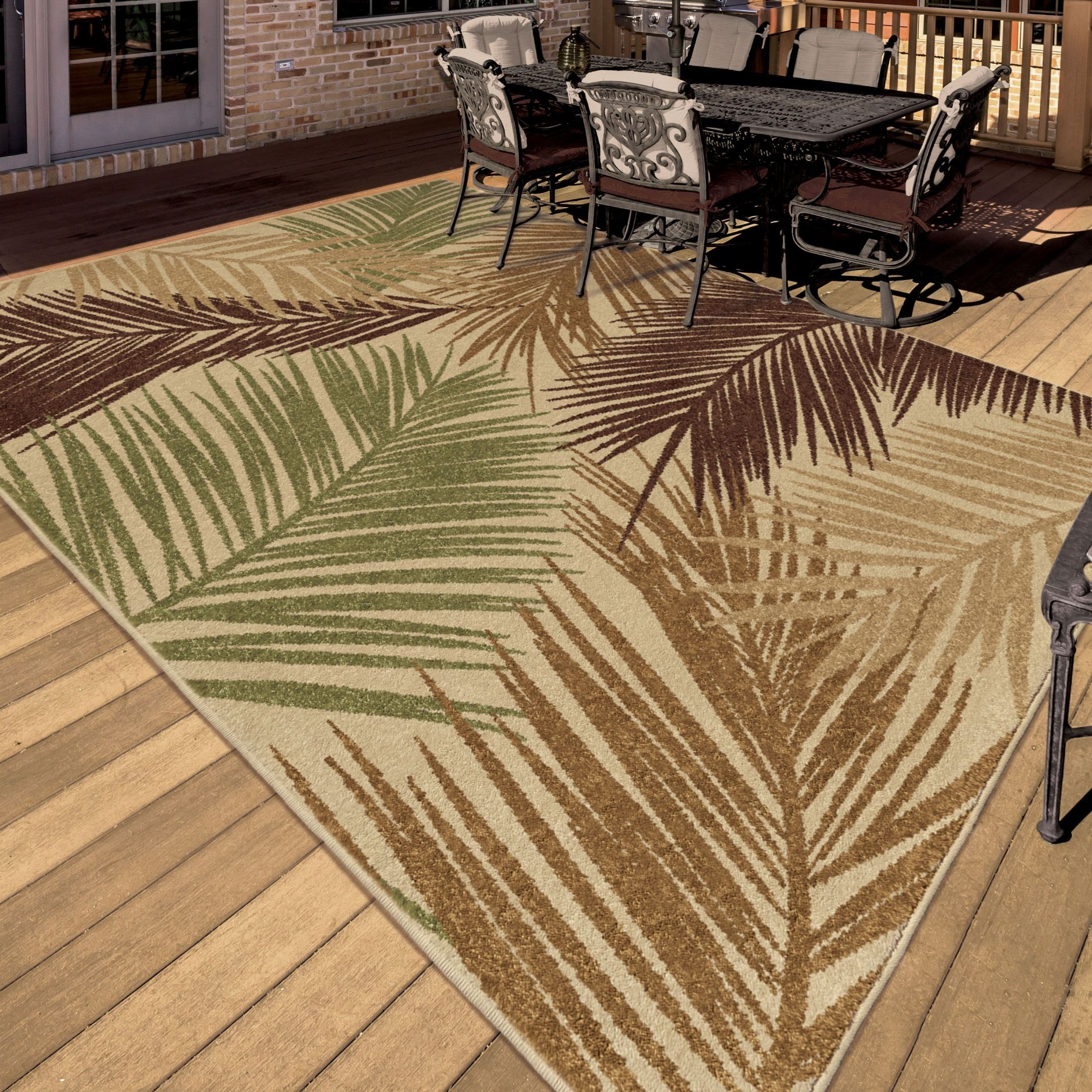 Orian Rugs Indoor/Outdoor Leaves Bungalow Palms Multi Area