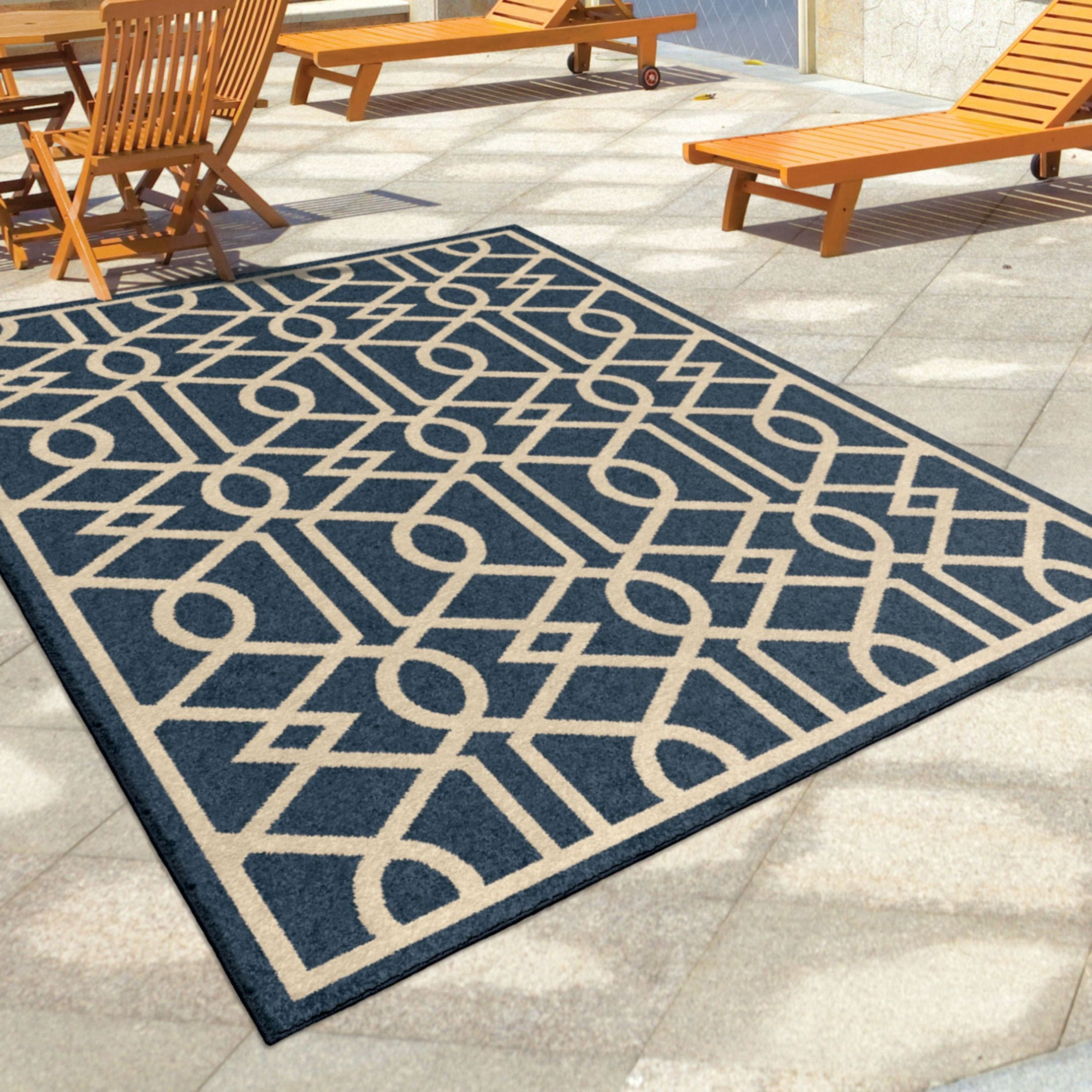 Orian Rugs Indoor Outdoor Trellis Barcelona Blue Area