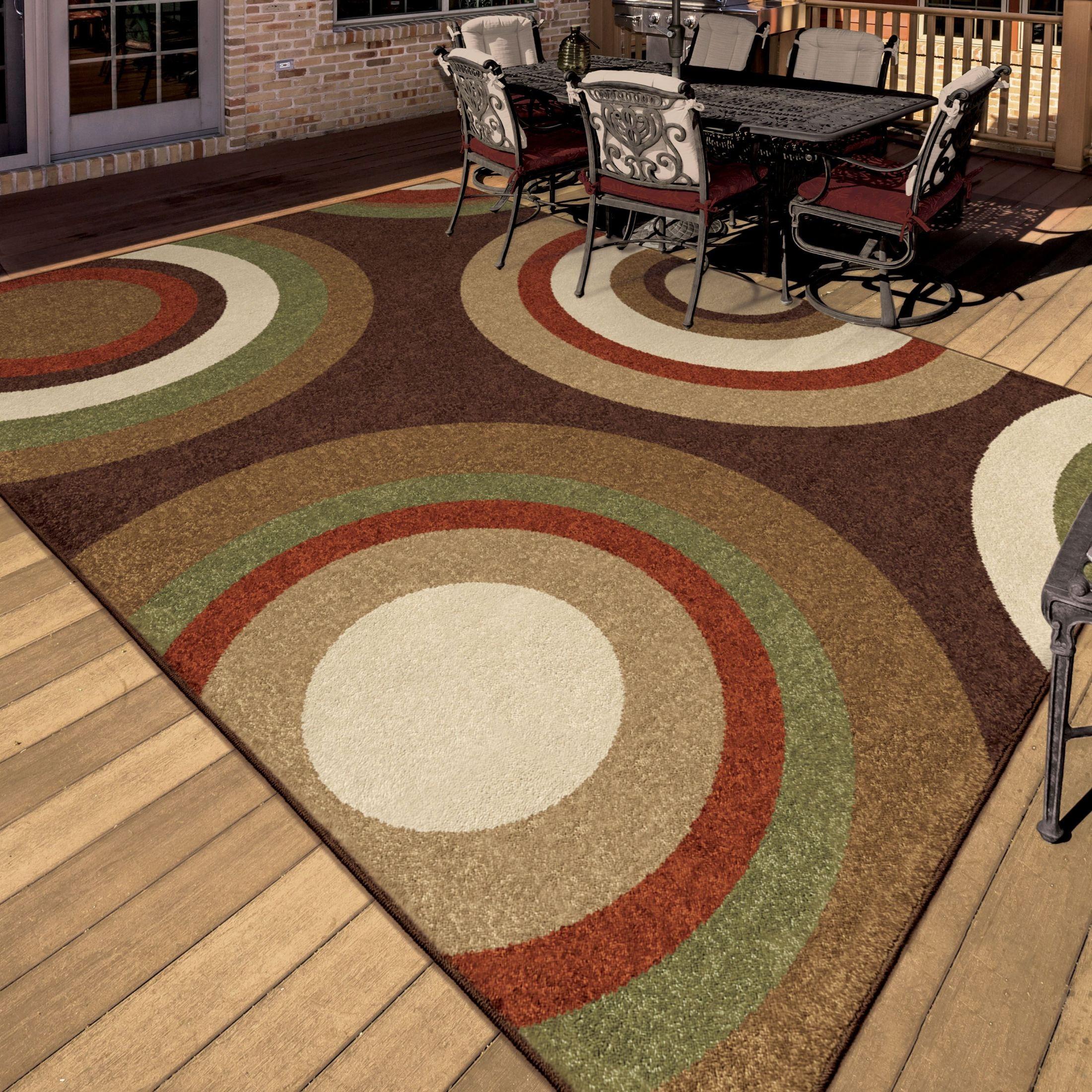 Outdoor 5x8 Area Rug: Orian Rugs Indoor/Outdoor Circles Roundtree Brown Area