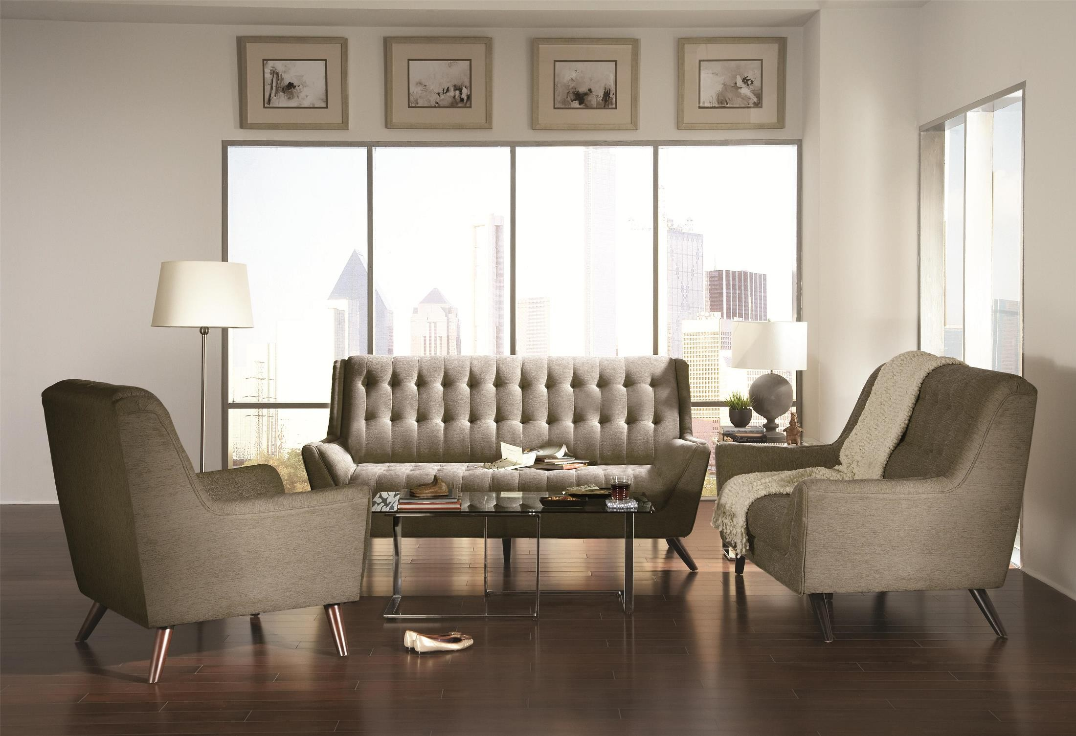 Natalia dove grey living room set from coaster 503771 for Grey front room furniture