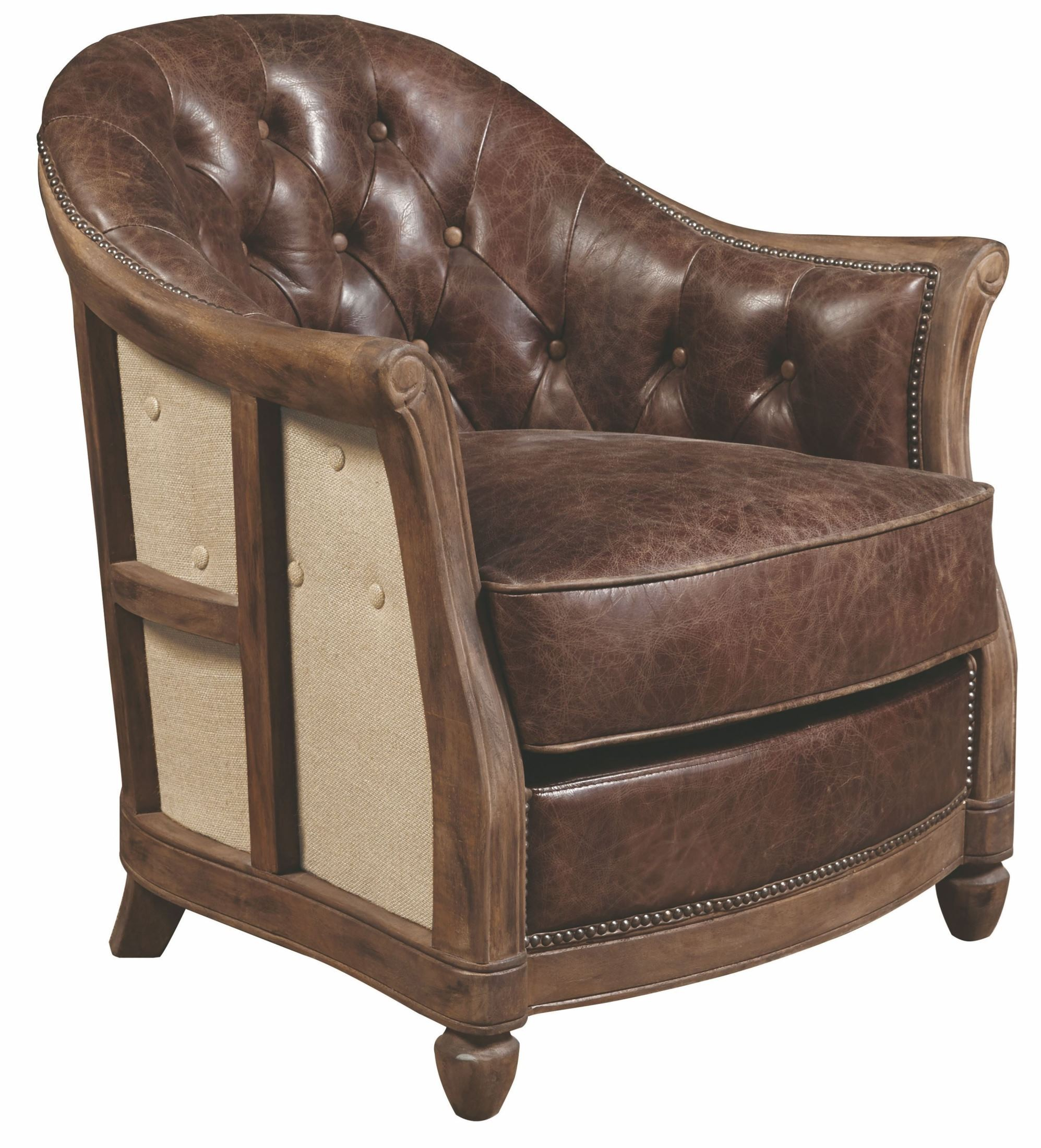 Andrew brown leather accent chair p006205 pulaski for Accent chair with brown leather sofa