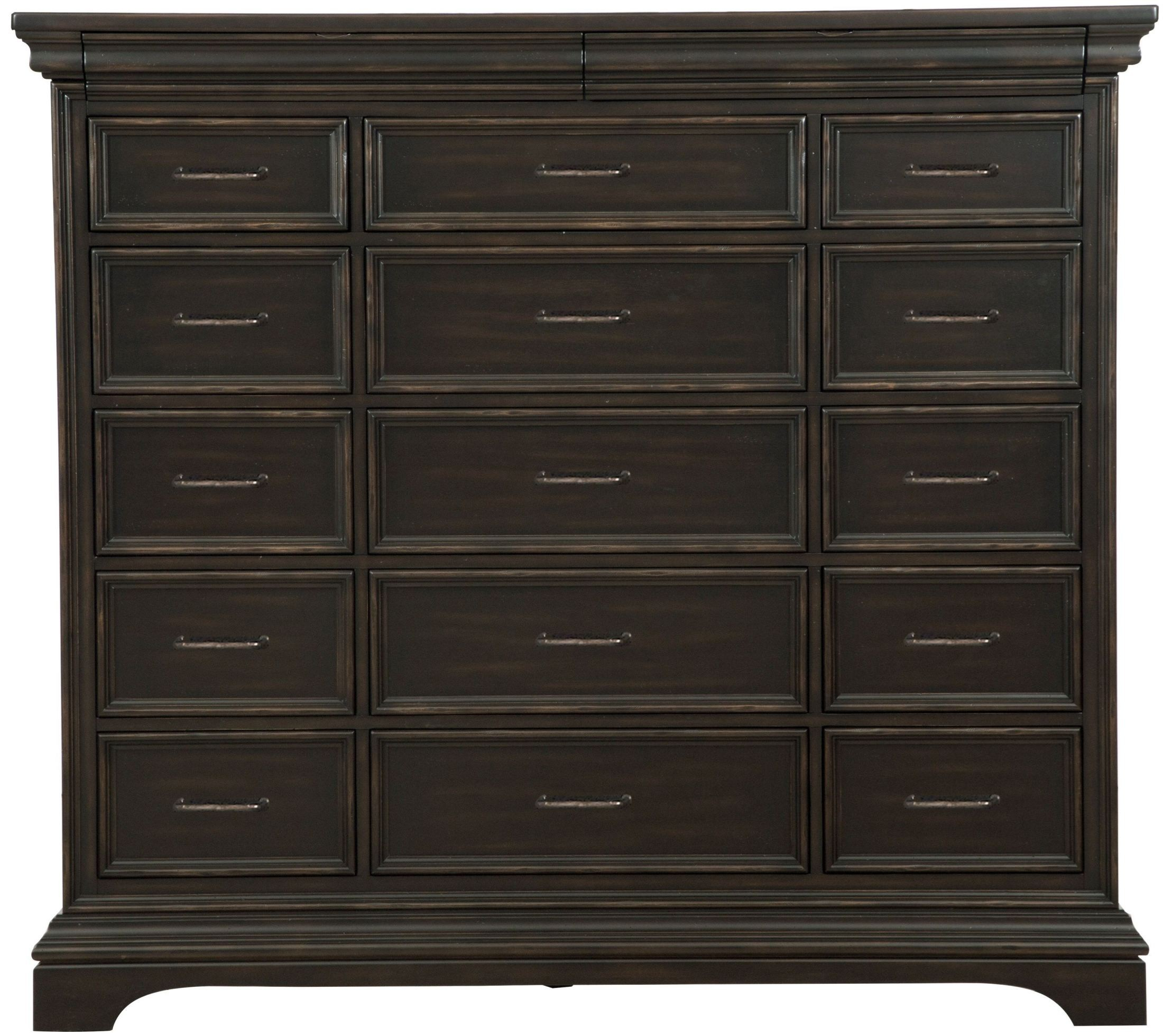 Caldwell Black 17 Drawers Master Chest P012127 Pulaski