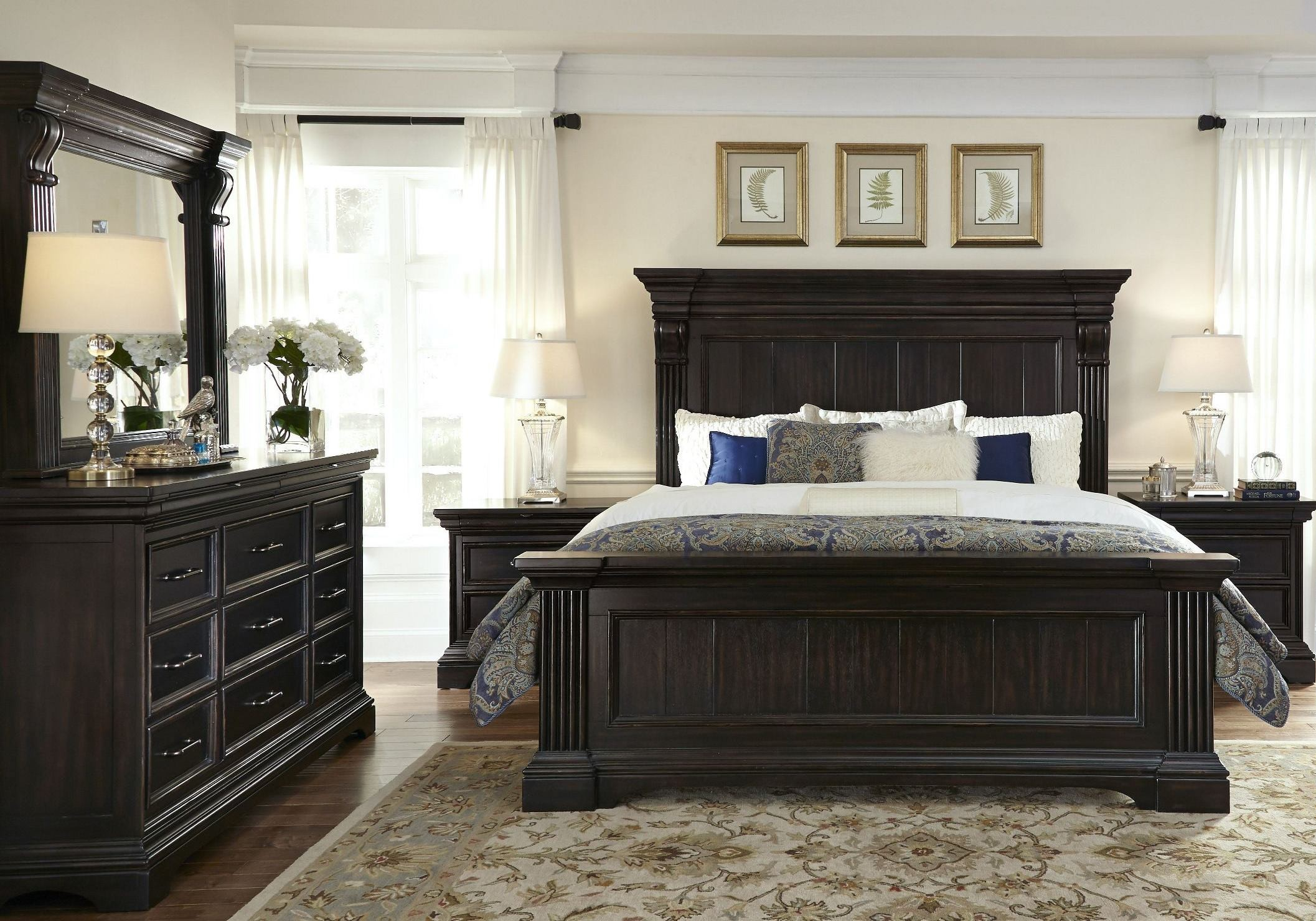 Caldwell black panel bedroom set p012170 71 72 pulaski - Black bedroom furniture sets full ...