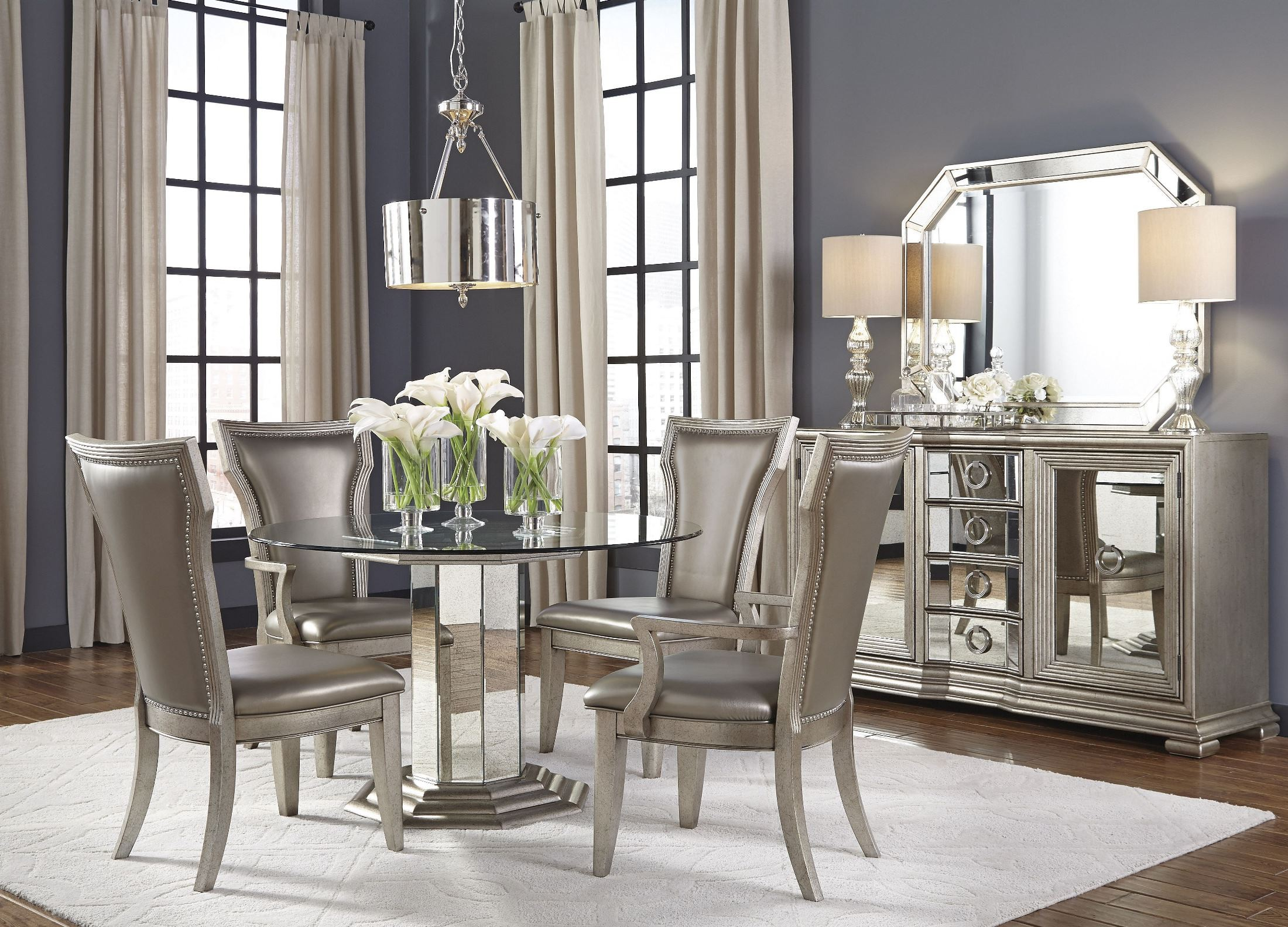 Gray Dining Room Round Table Setup