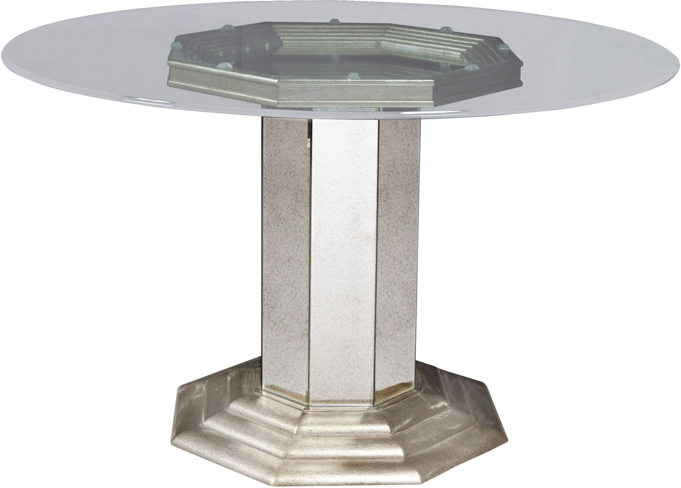 Couture silver round pedestal dining table p022230 31 for Round pedestal dining table