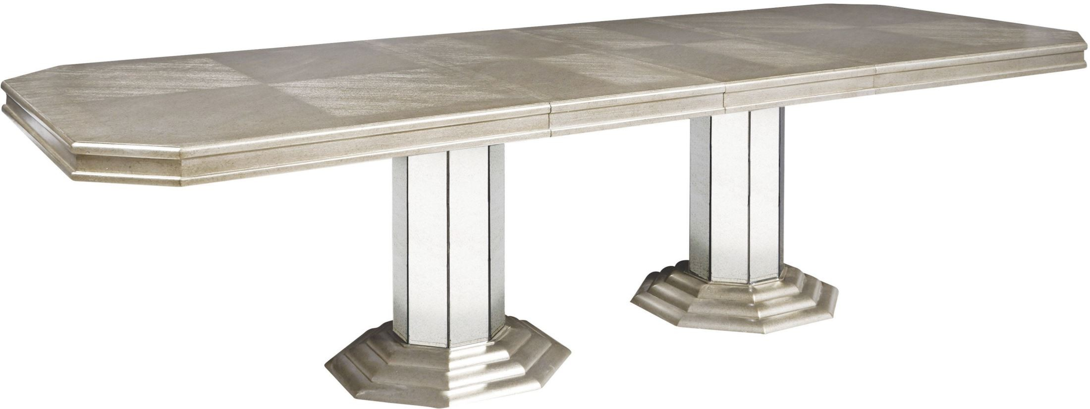 Couture silver rectangular extendable double pedestal for Rectangular pedestal dining table