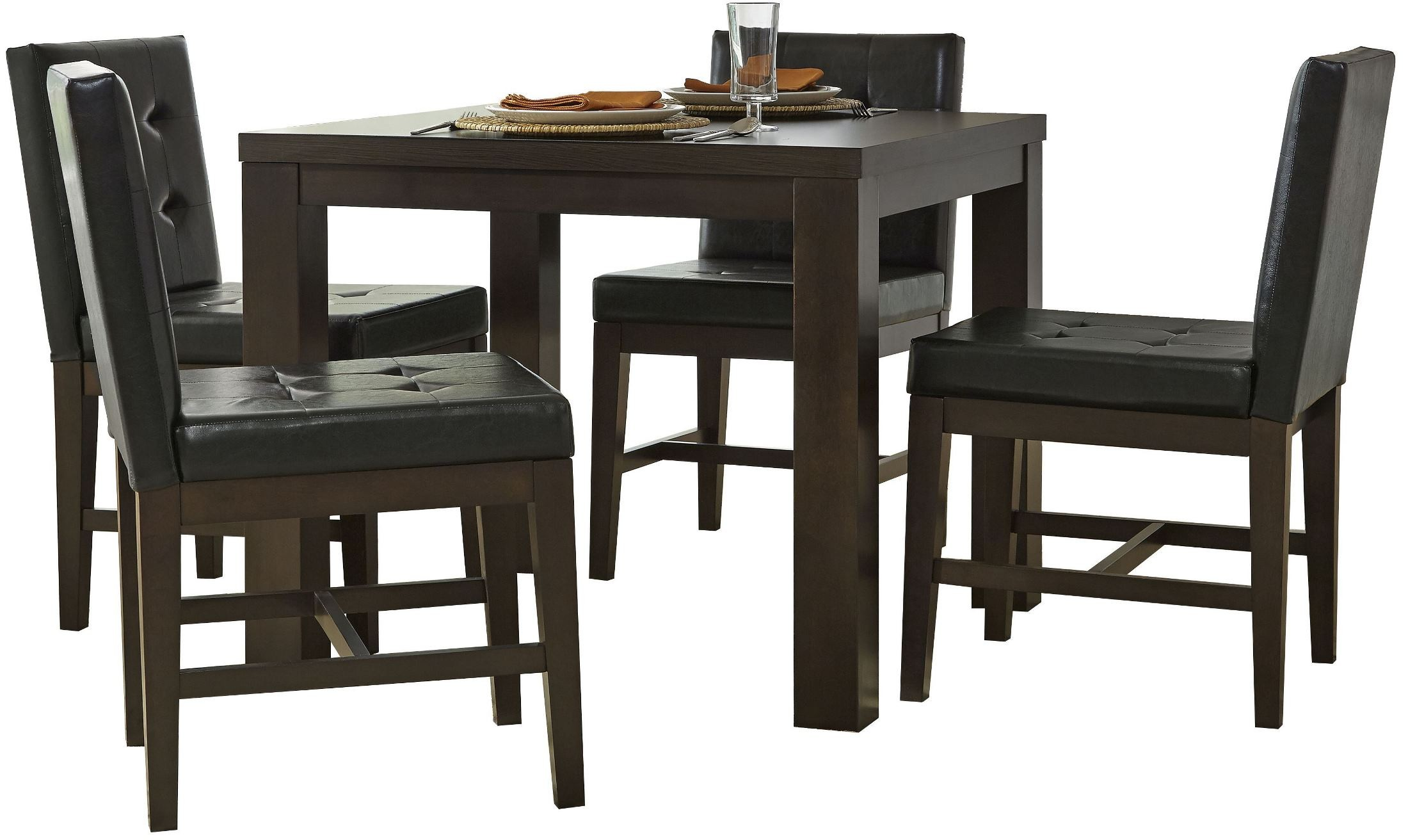 Athena dark chocolate square dining room set p109d 12 for Square dinette sets
