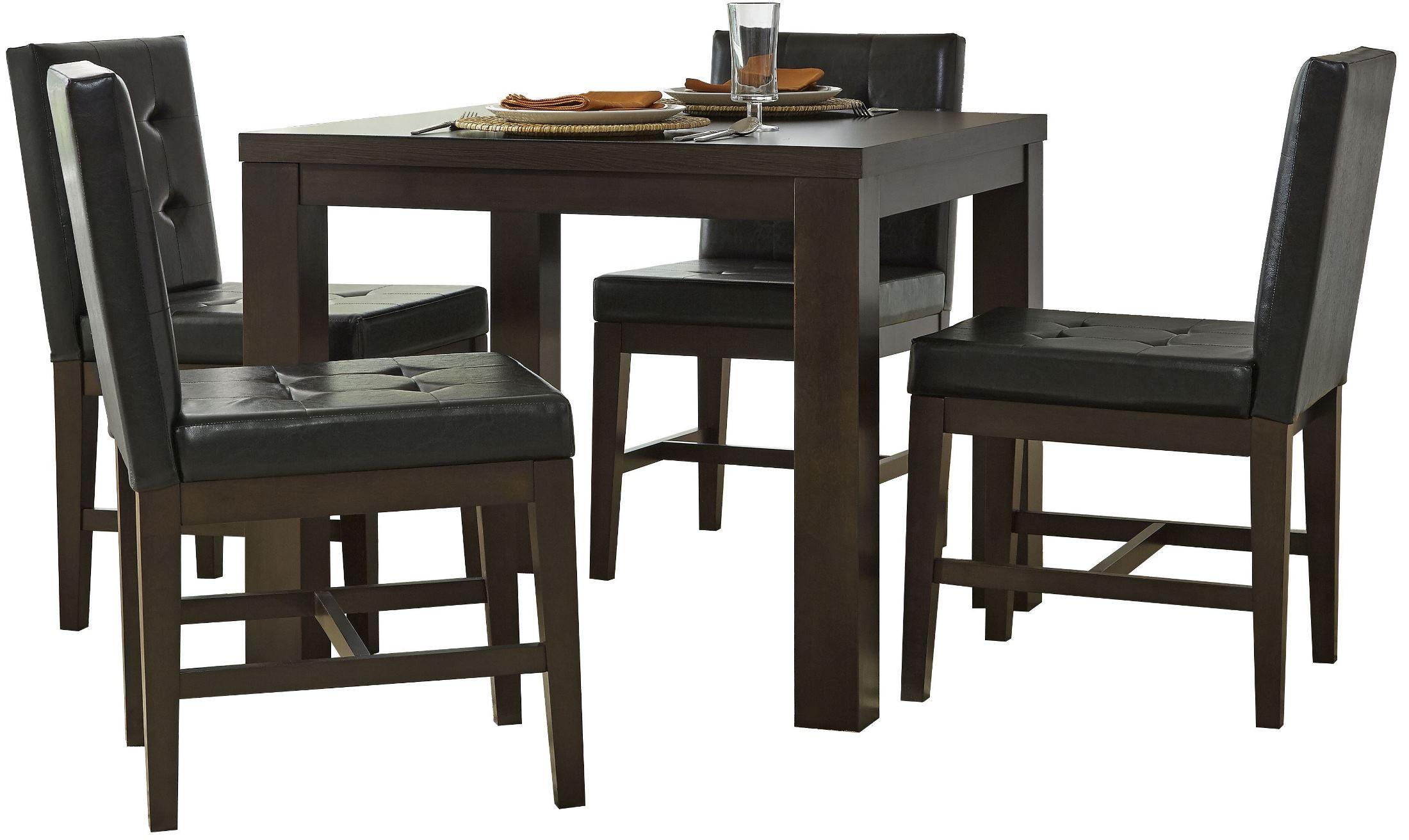 Athena dark chocolate square dining room set p109d 12 for Square dinette sets