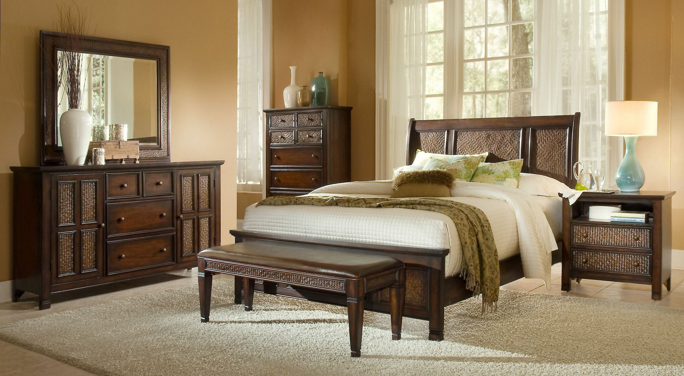 Kingston Isle Havana Brown Sleigh Bedroom Set P195 80 81 83