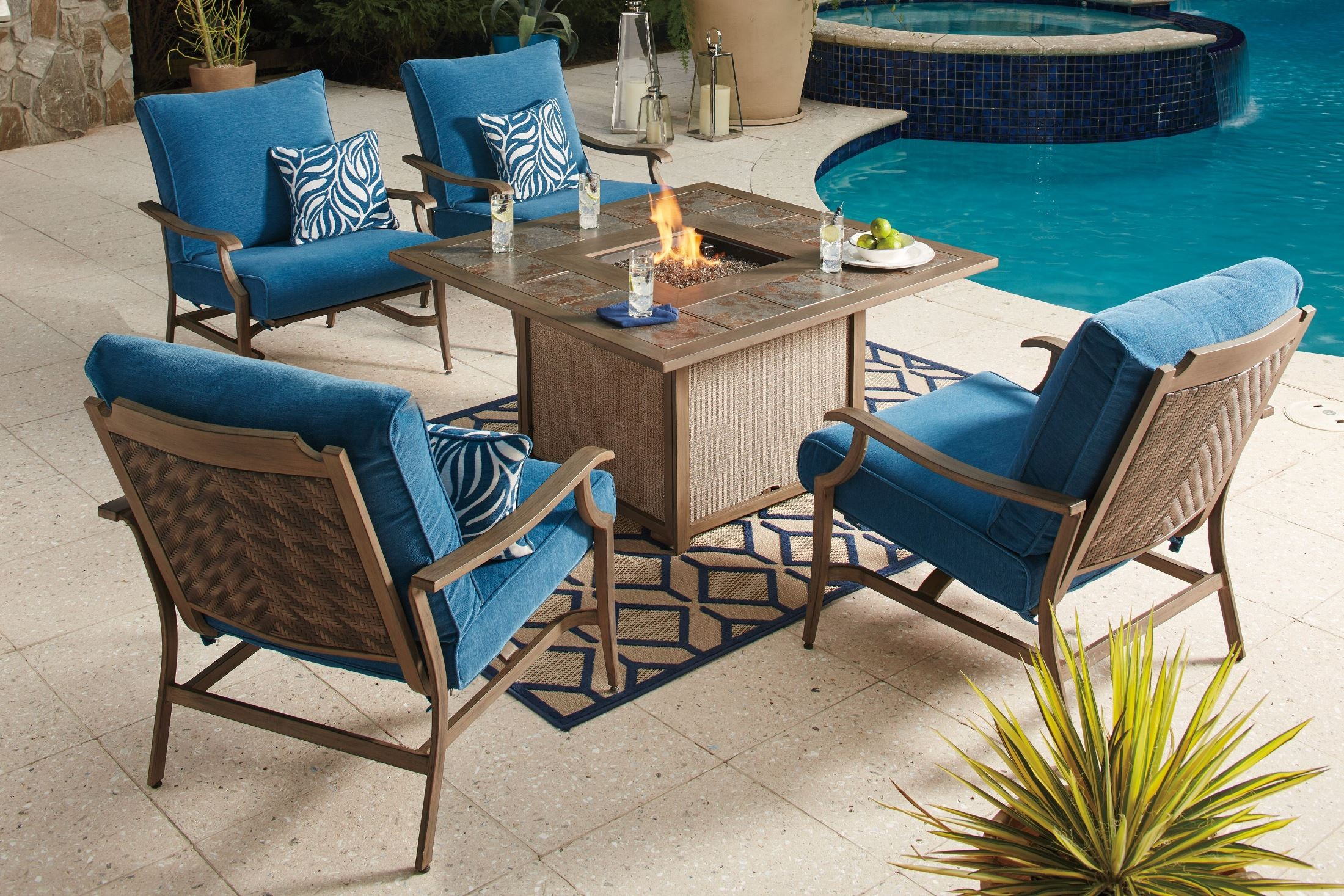 Partanna Blue And Beige Square Fire Pit Outdoor Dining Set
