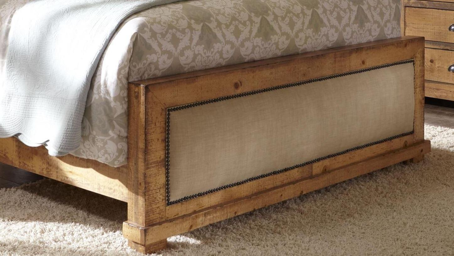Willow distressed pine upholstered bedroom set p608 34 35 78 progressive for Distressed pine bedroom furniture