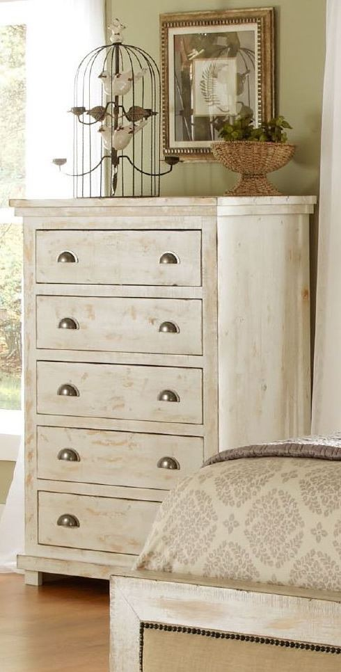 Willow Distressed White Slat Bedroom Set P610 60 61 78