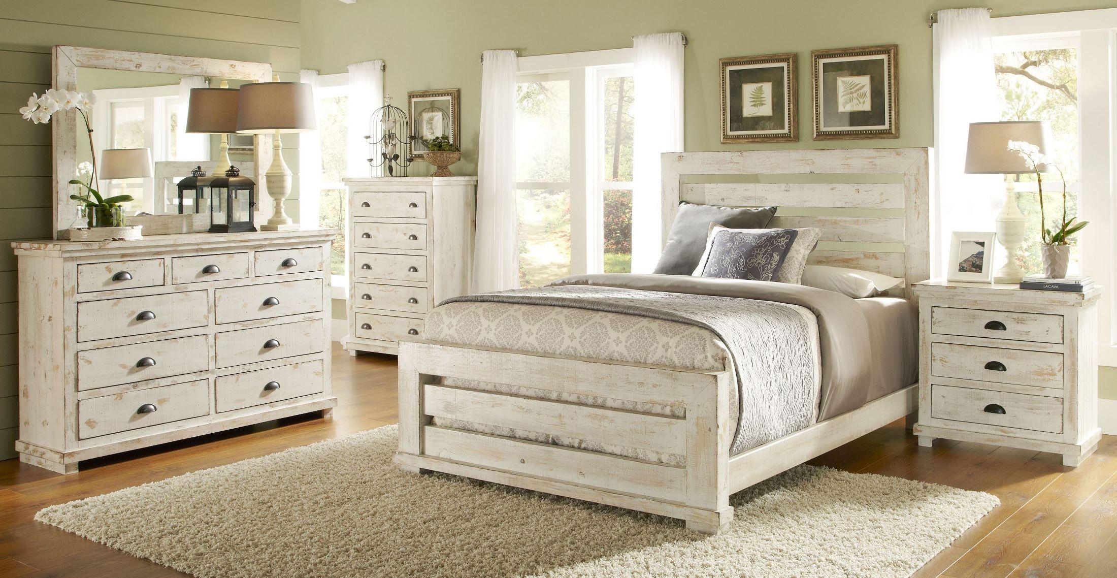 willow distressed white slat bedroom set p610 60 61 78 progressive