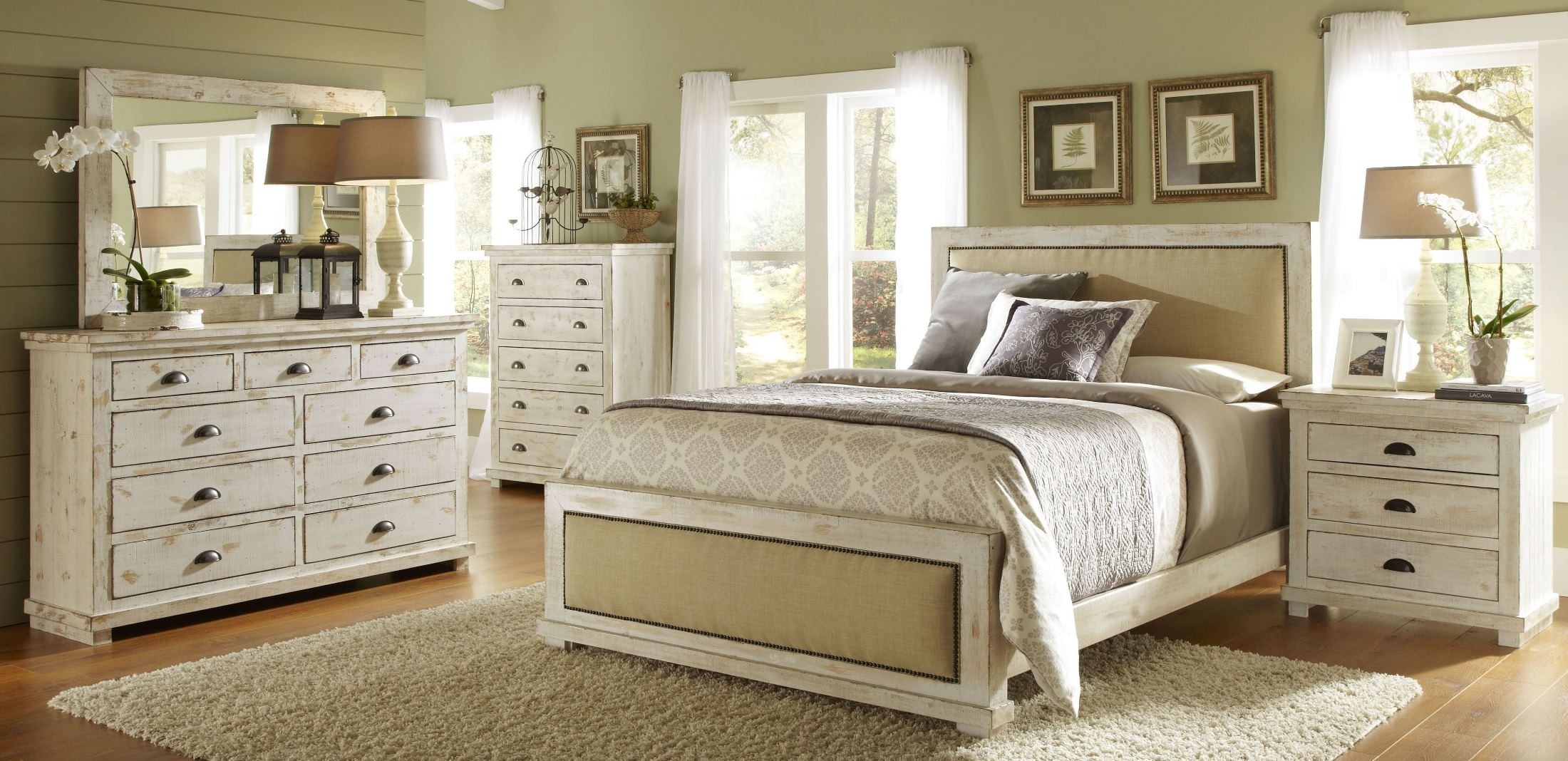 Willow distressed white upholstered bedroom set p610 34 for Affordable furniture 610