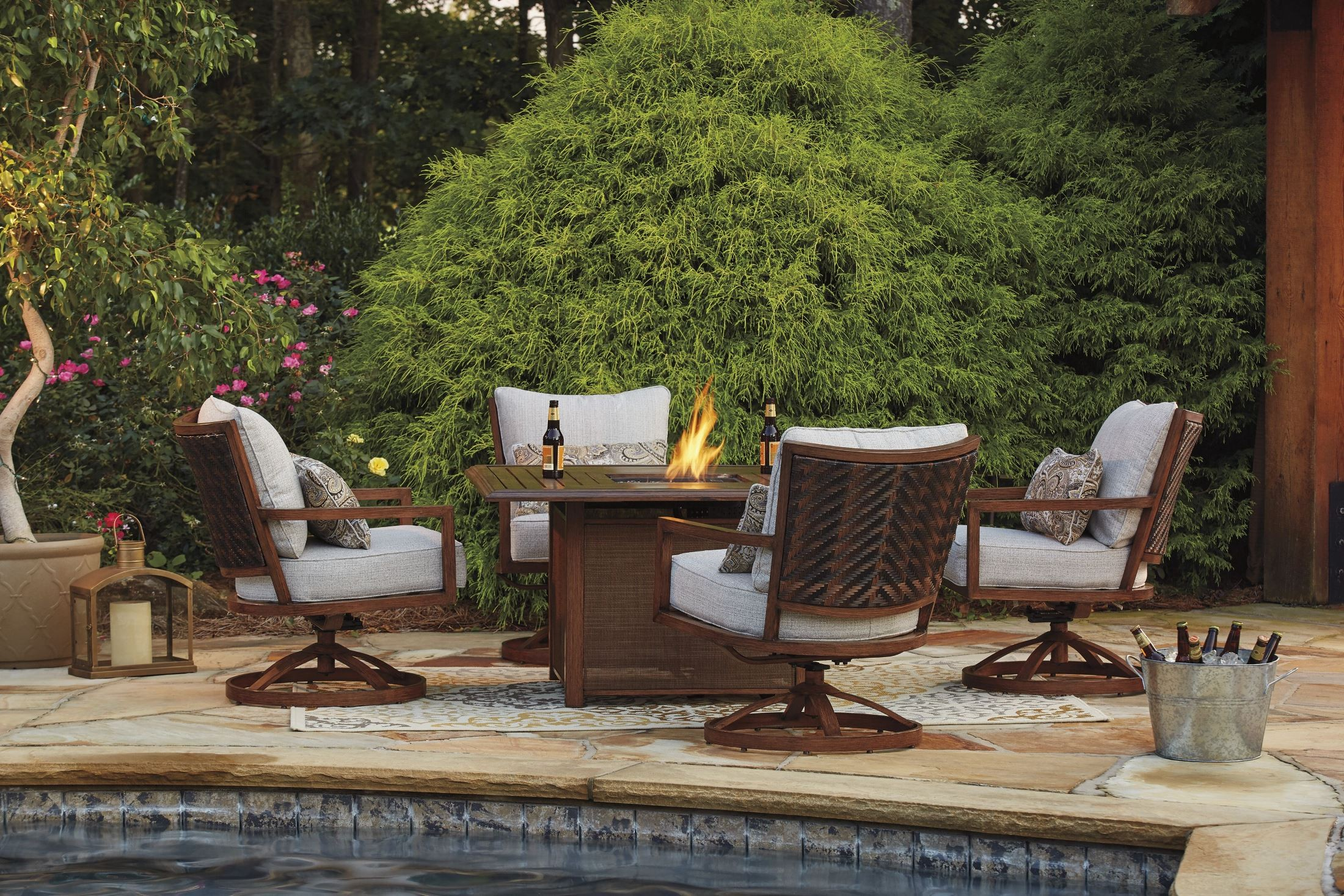 Zoranne beige and brown square fire pit outdoor dining set for Outdoor setting sale