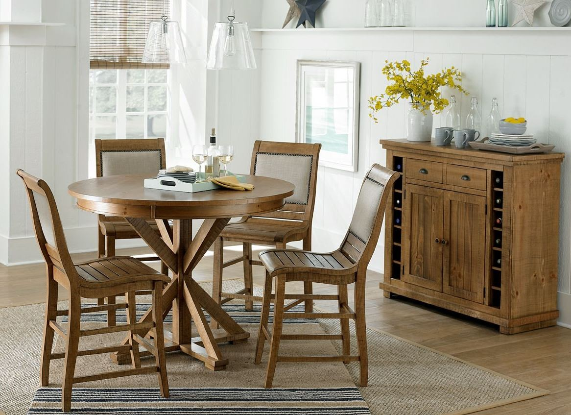 willow distressed pine counter height dining room set p808 15b 15t
