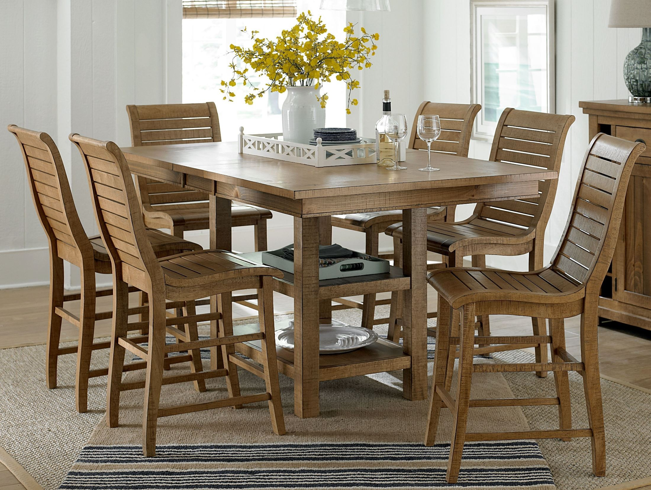 Willow Distressed Pine Rectangular Extendable Counter Dining Room Set P808 1