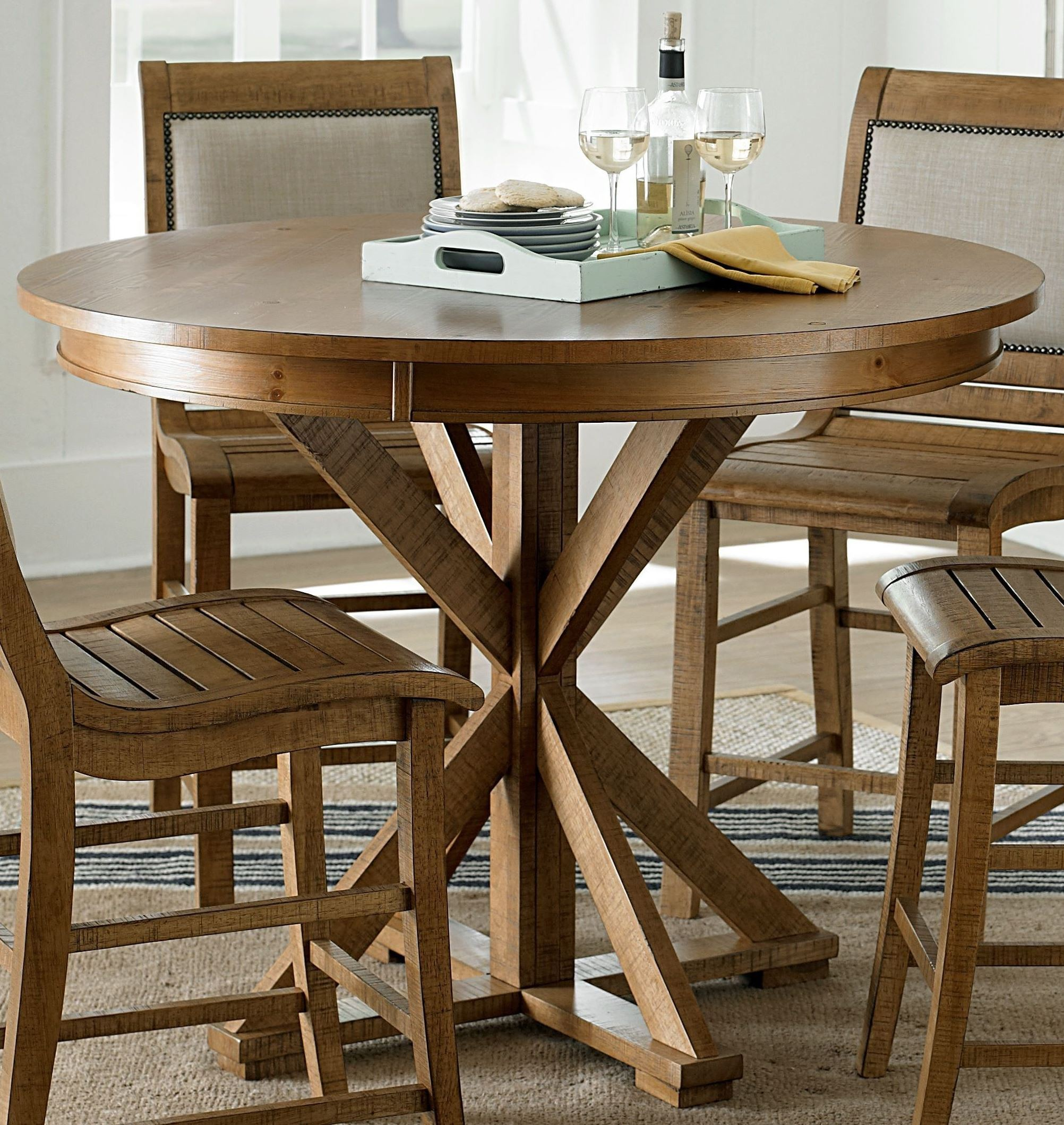 Willow Distressed Pine Counter Height Dining Table P808 15B 15T Progressive