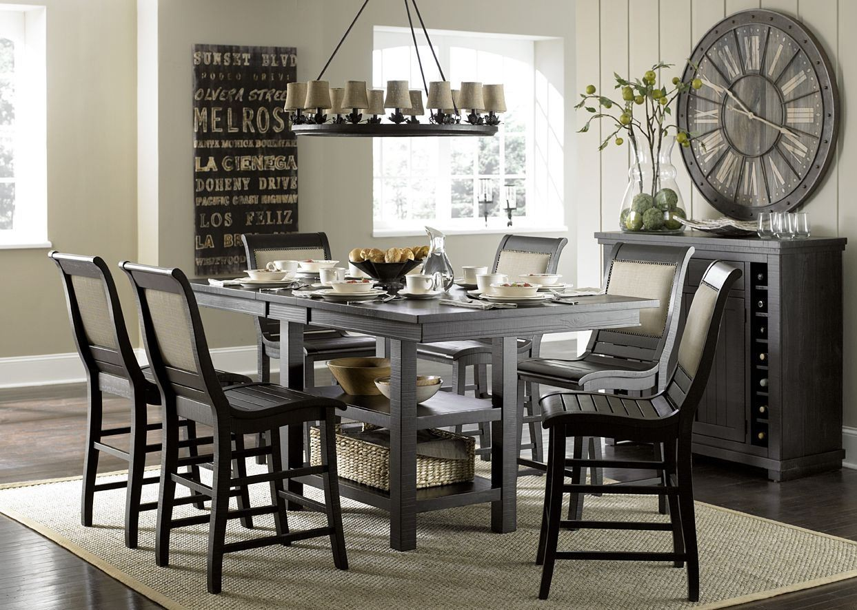 Black Counter Height Dining Room Sets hollyhock distressed white dining room set from homelegance 5123