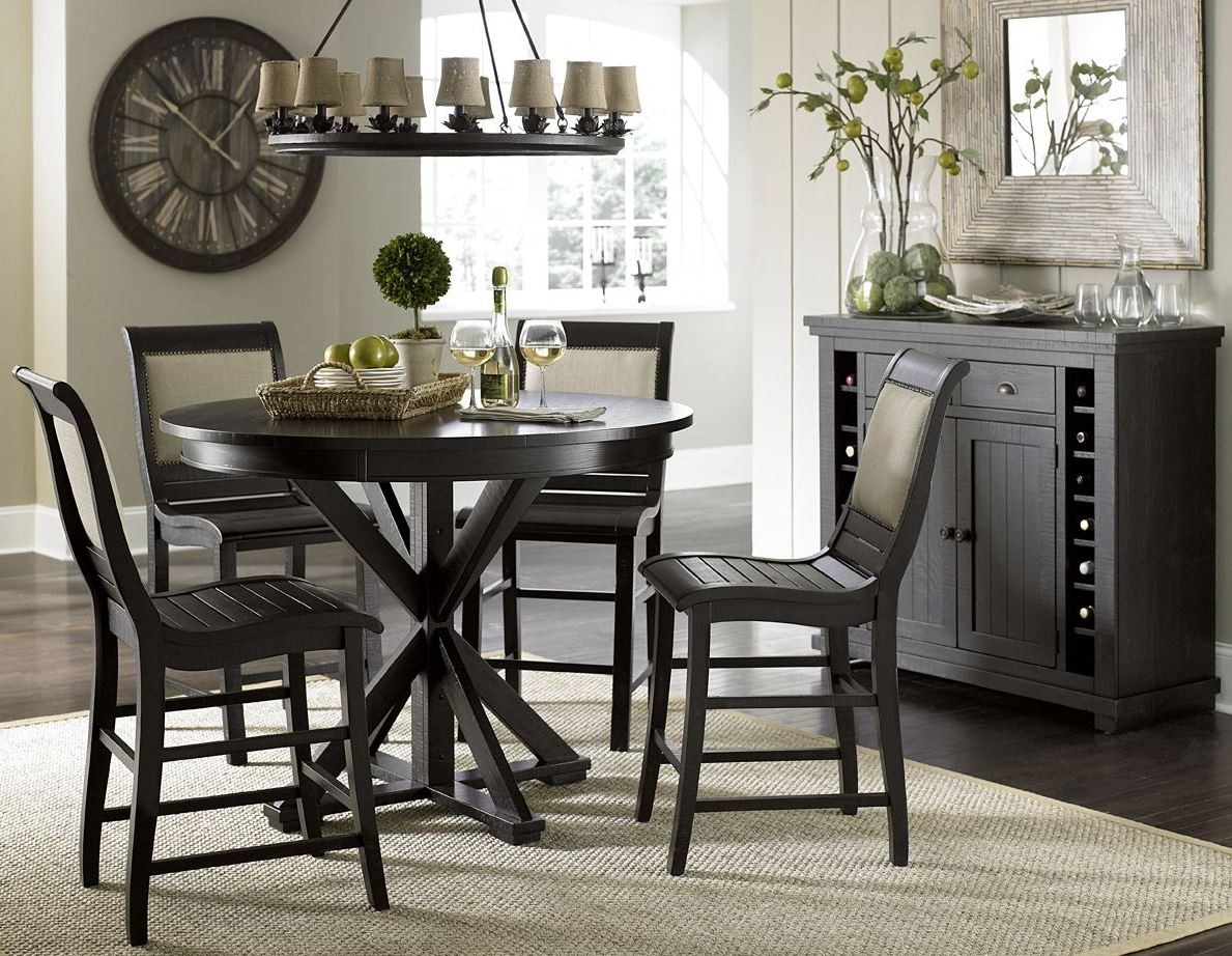 willow distressed black round counter dining room set p812 15b 15t progressive. Black Bedroom Furniture Sets. Home Design Ideas