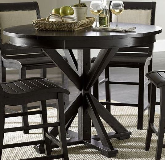 Willow distressed black round counter height dining table for Distressed round dining table