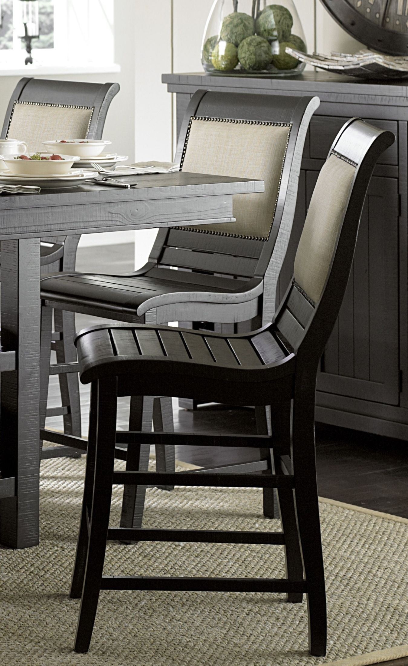 Willow Distressed Black Rectangular Counter Height Dining Room Set P812 12B