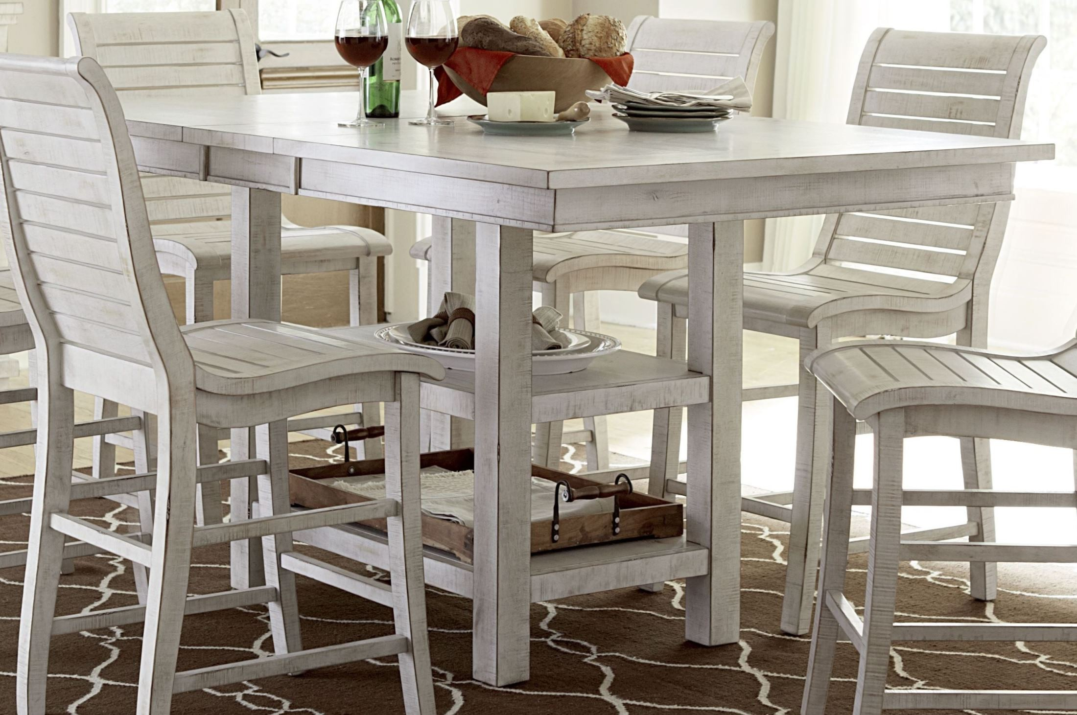 Willow distressed white rectangular counter height dining for Distressed white dining table