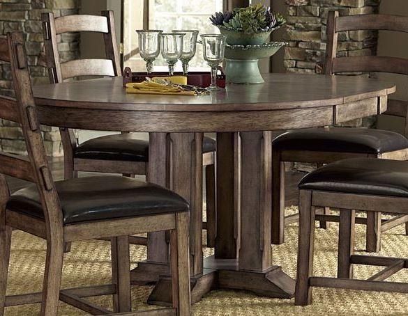 boulder creek pecan veneer dining room set p849 10b 10t
