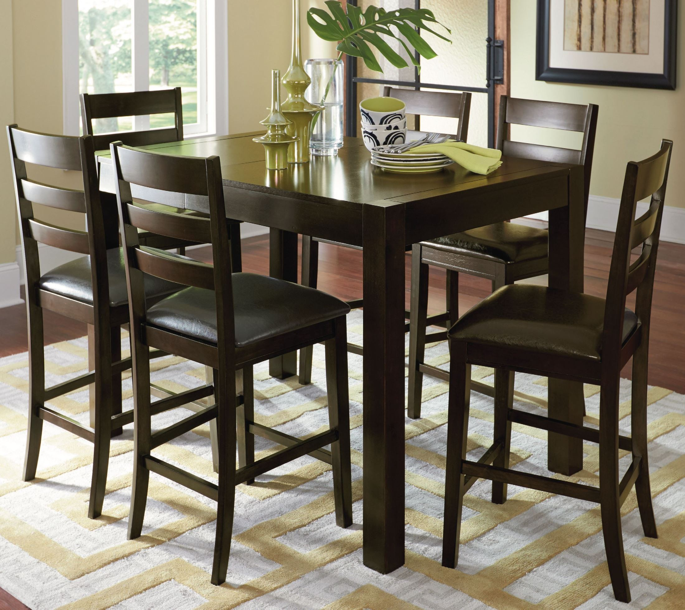 amini espresso butterfly counter height dining room set p868 12